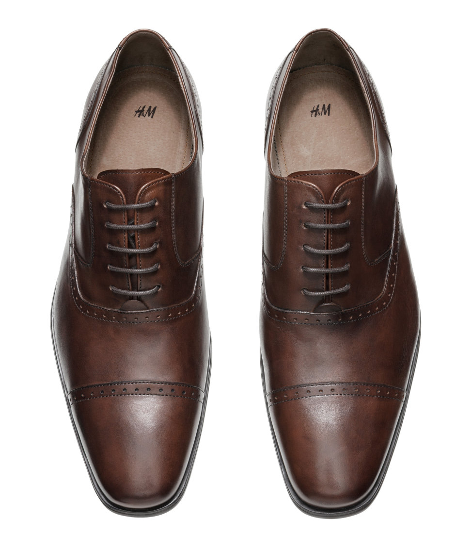 Lyst H M Leather Oxford Shoes In Brown For Men