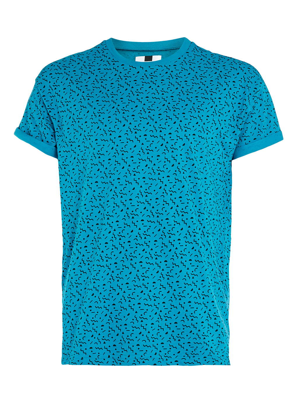 Lac turquoise pattern t shirt in blue for men green lyst for Aqua blue mens dress shirt