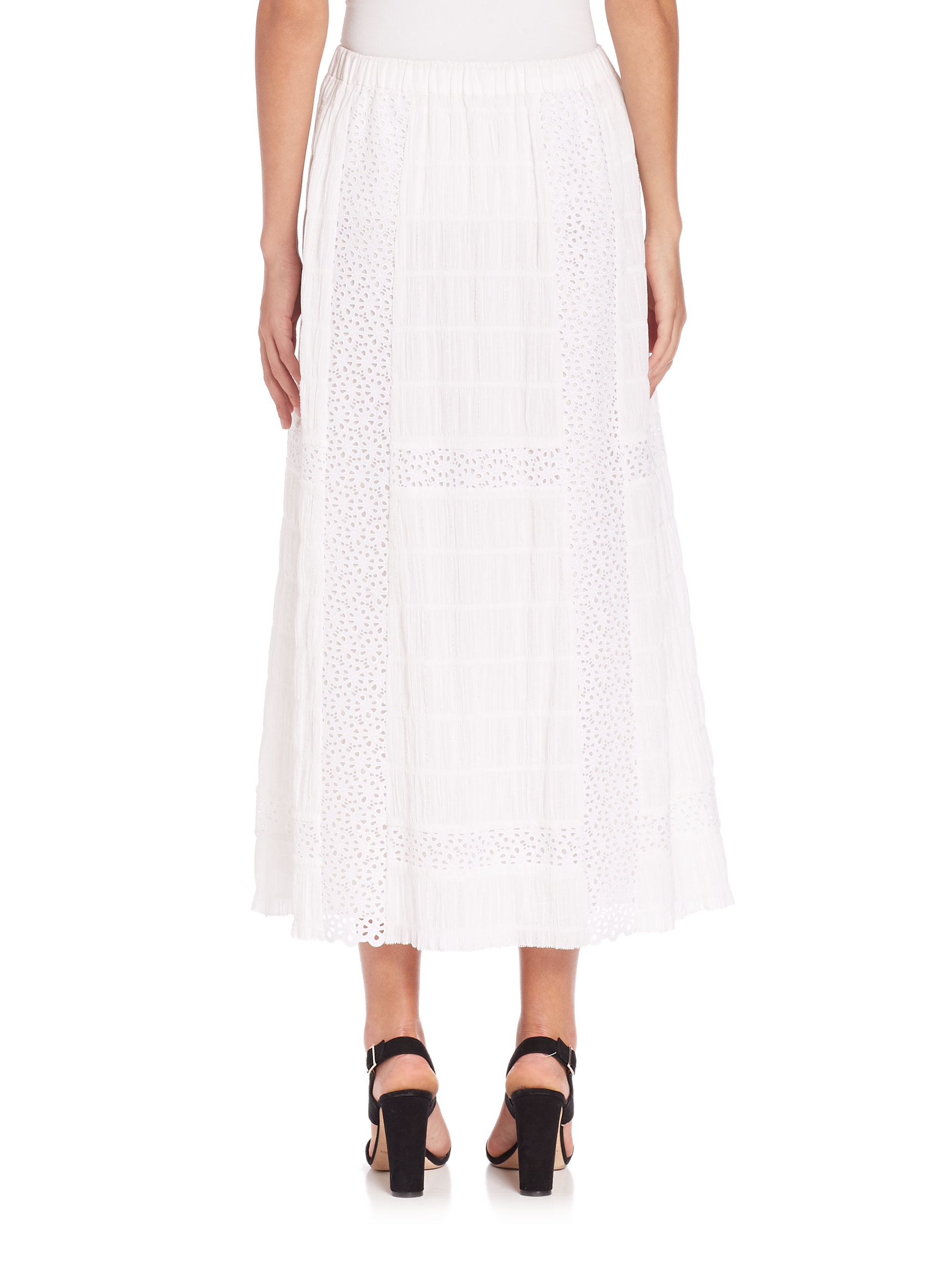 thakoon crochet maxi skirt in white lyst