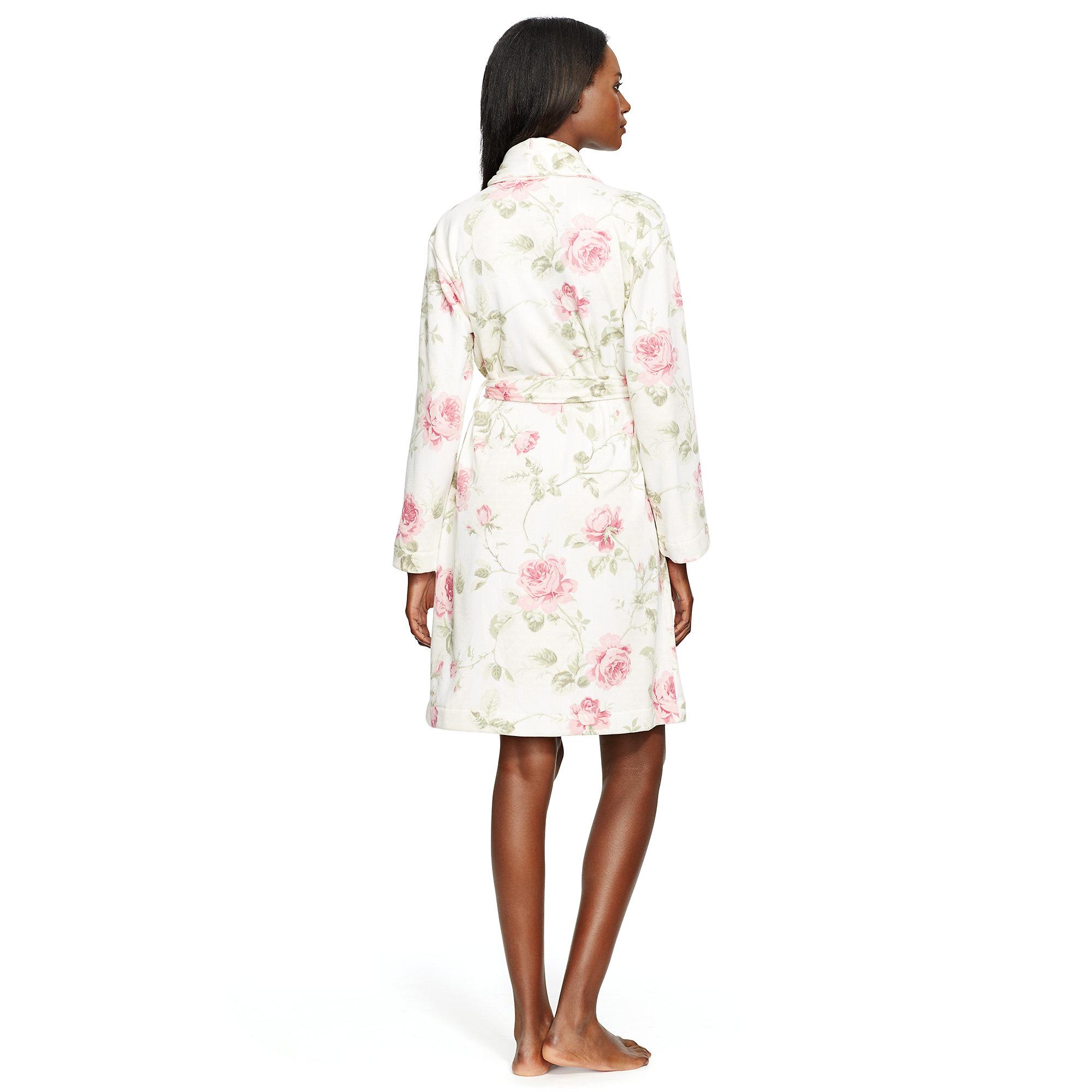 ralph lauren floral shawl collar robe lyst. Black Bedroom Furniture Sets. Home Design Ideas