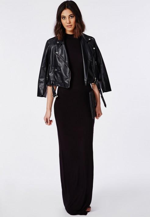maxi dress high neck jacket