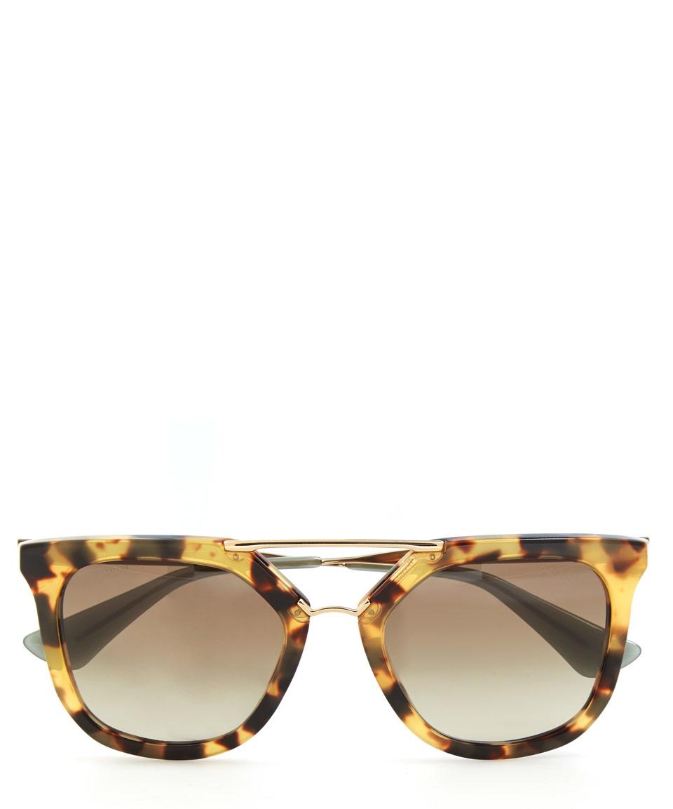 57c130821b Lyst - Prada Brown Metal Bridge Sunglasses in Brown Womens Clear Lens  Glasses Round ...