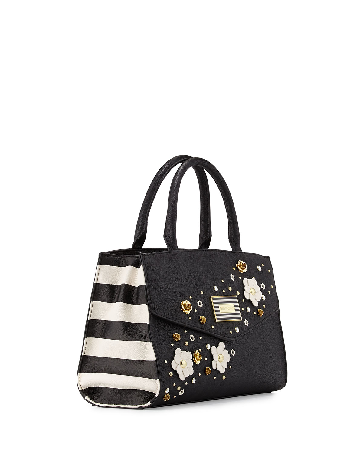Lyst Betsey Johnson Pushing Daisies Striped Side Satchel