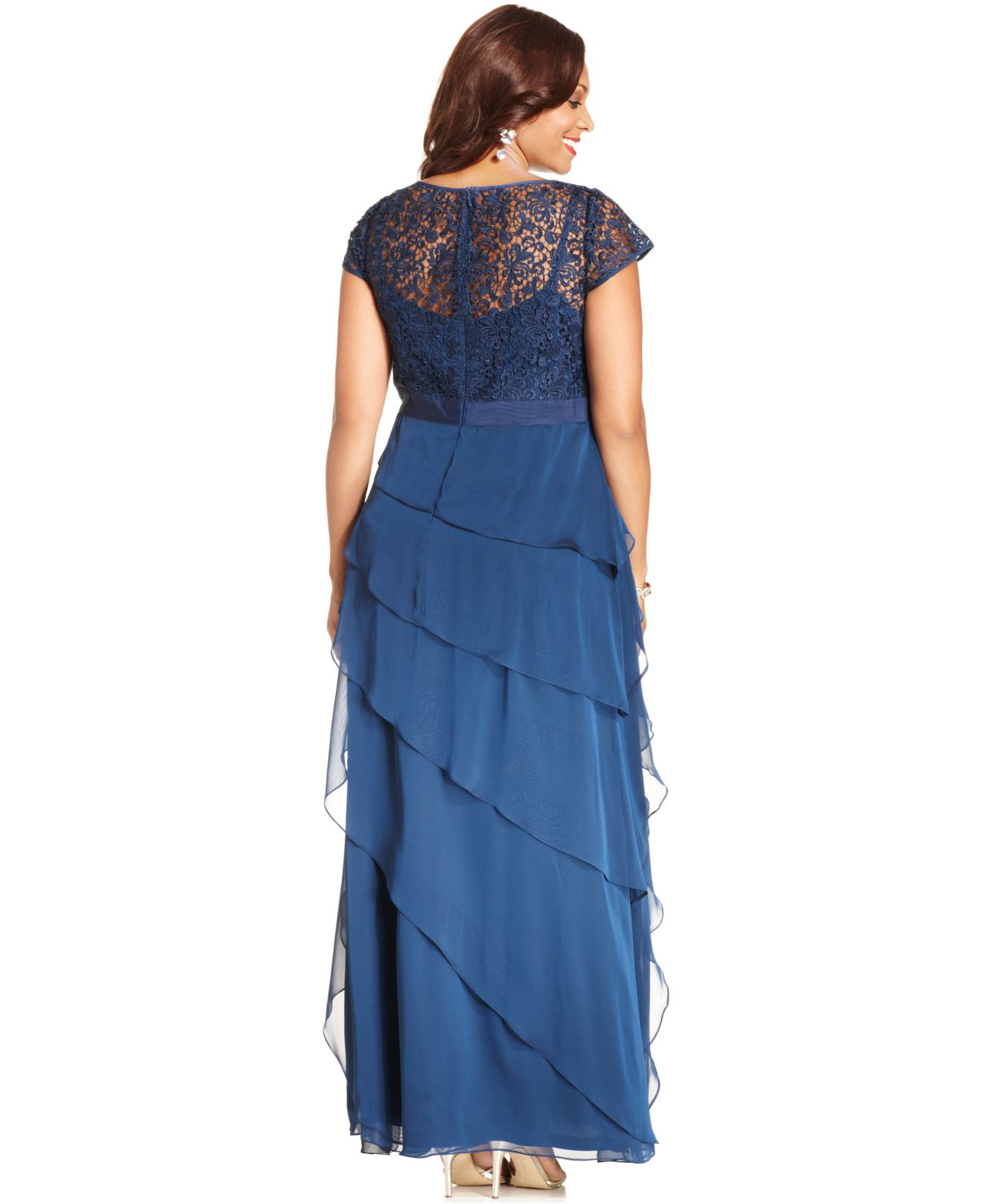Lyst - Adrianna Papell Plus Size Cap-sleeve Lace Tiered Gown in Blue