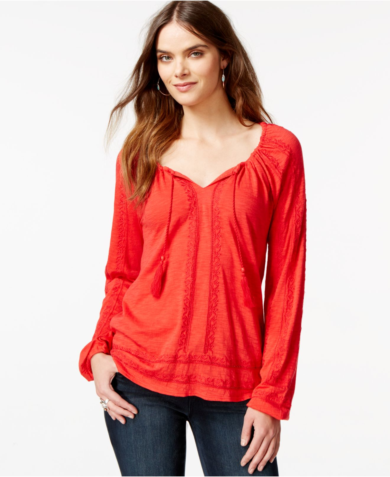 324c1d0b44468 Lyst - Lucky Brand Lucky Brand Embroidered Peasant Blouse in Red