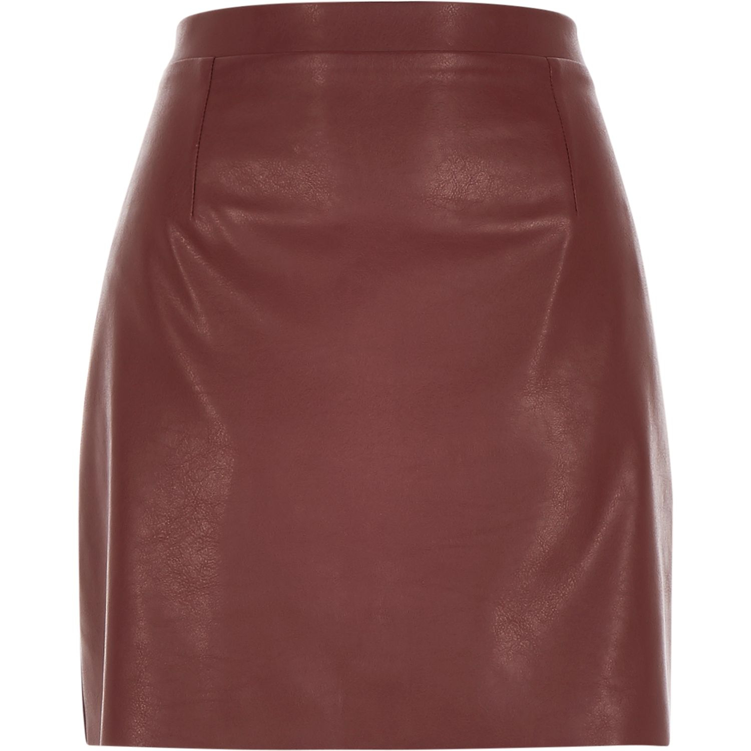River island Burgundy Red Leather-look A-line Skirt in Purple | Lyst