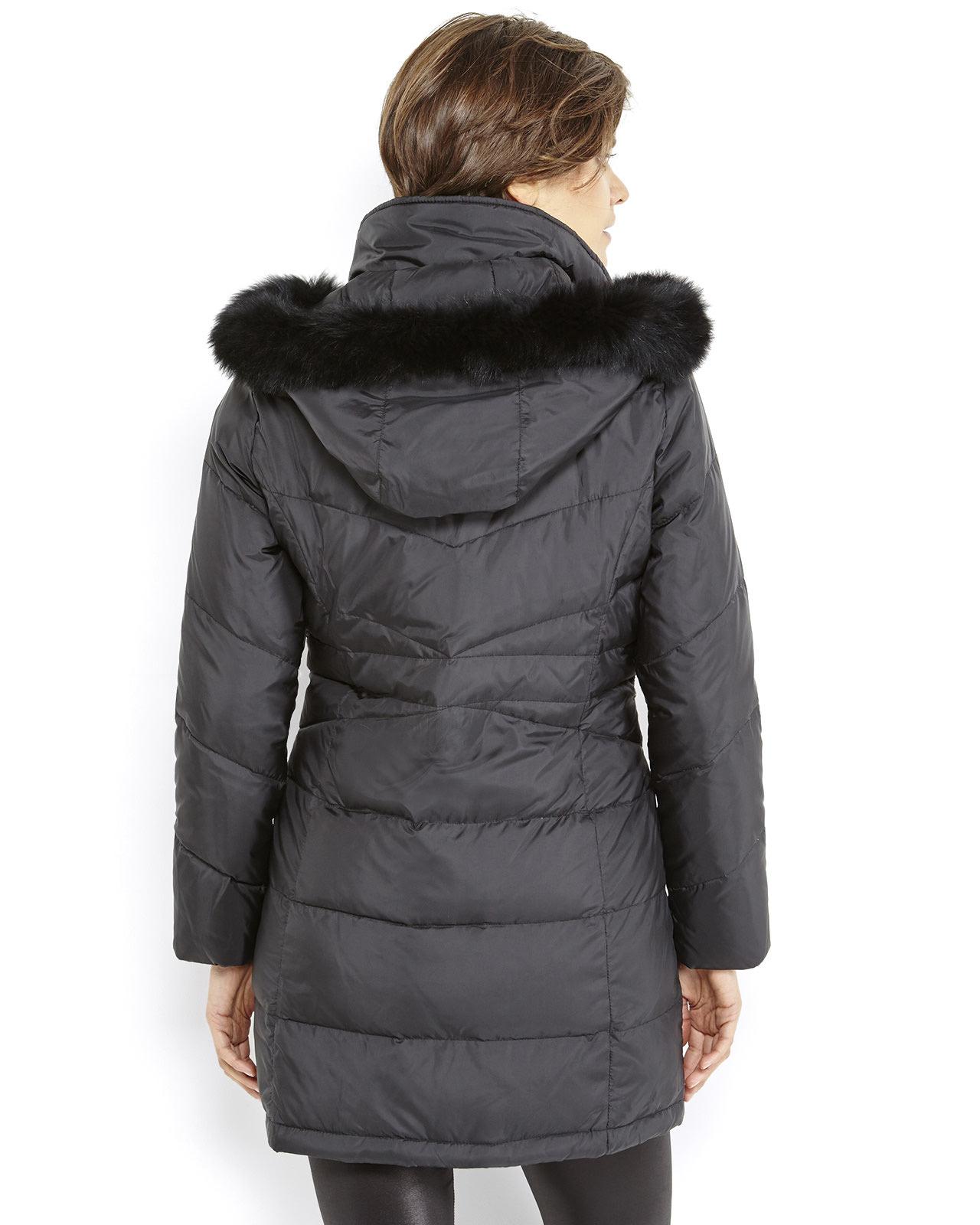 Ellen tracy Petite Real Fur Trim Hooded Down Coat in Black ...