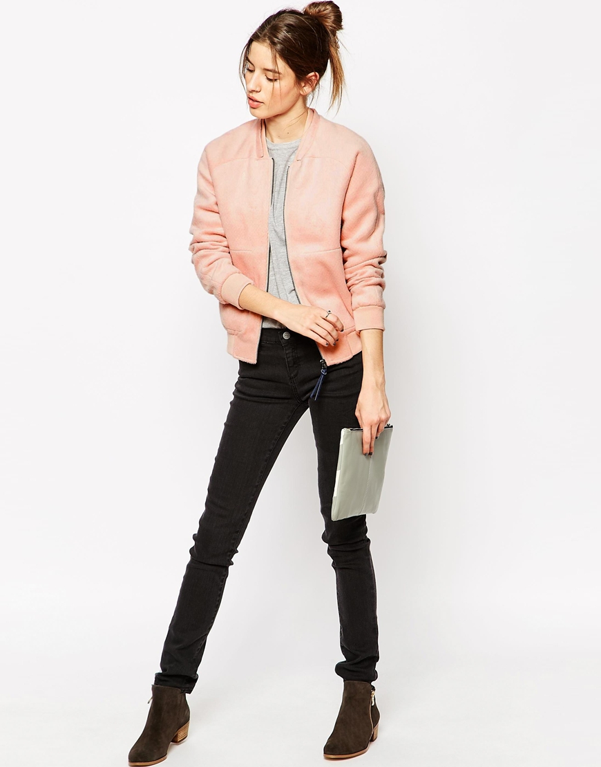 Gsus sindustries Thun Pink Textured Bomber Jacket in Pink | Lyst
