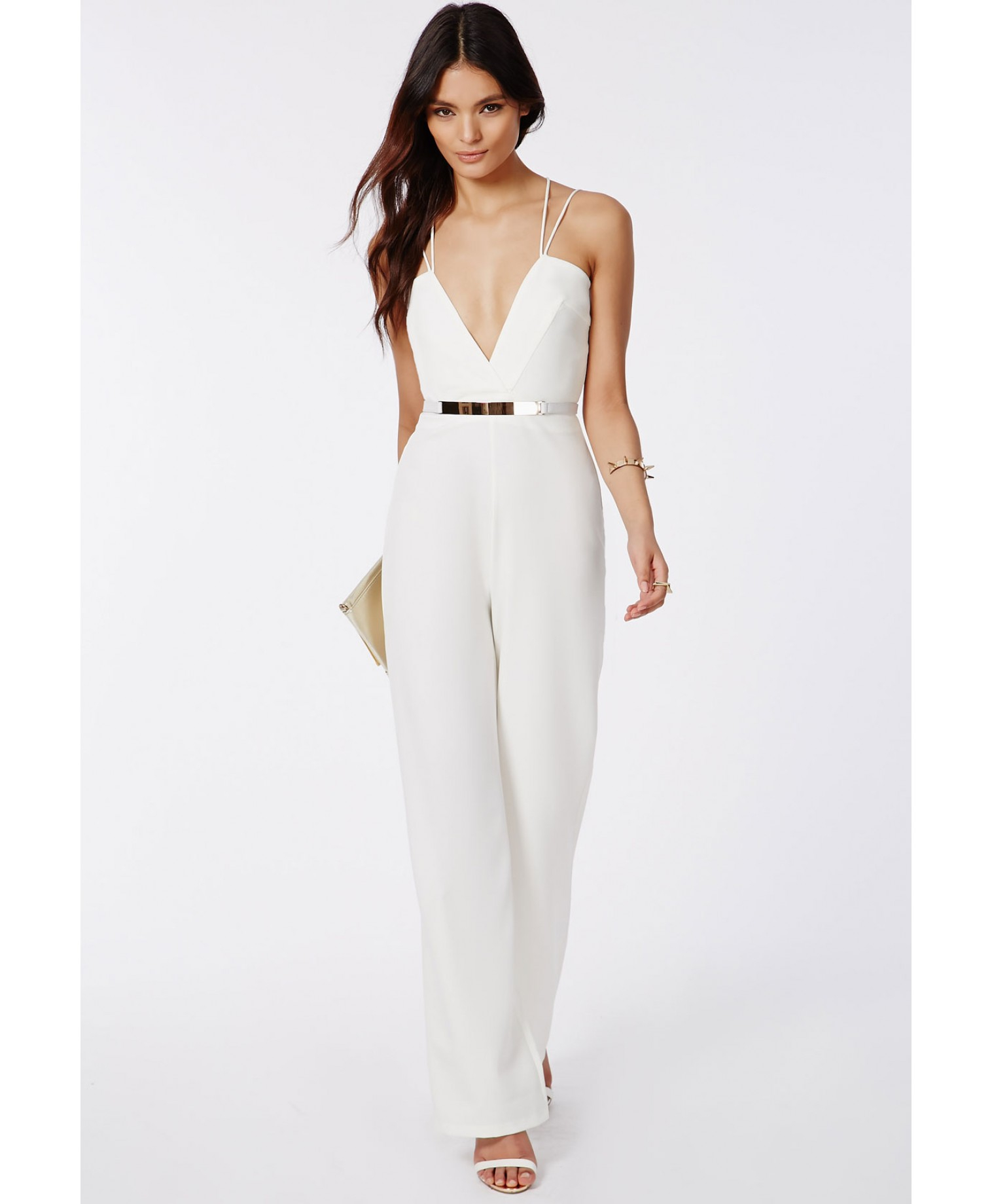 d6a84f81115 Lyst - Missguided Strappy Cross Front Wide Leg Jumpsuit White in White
