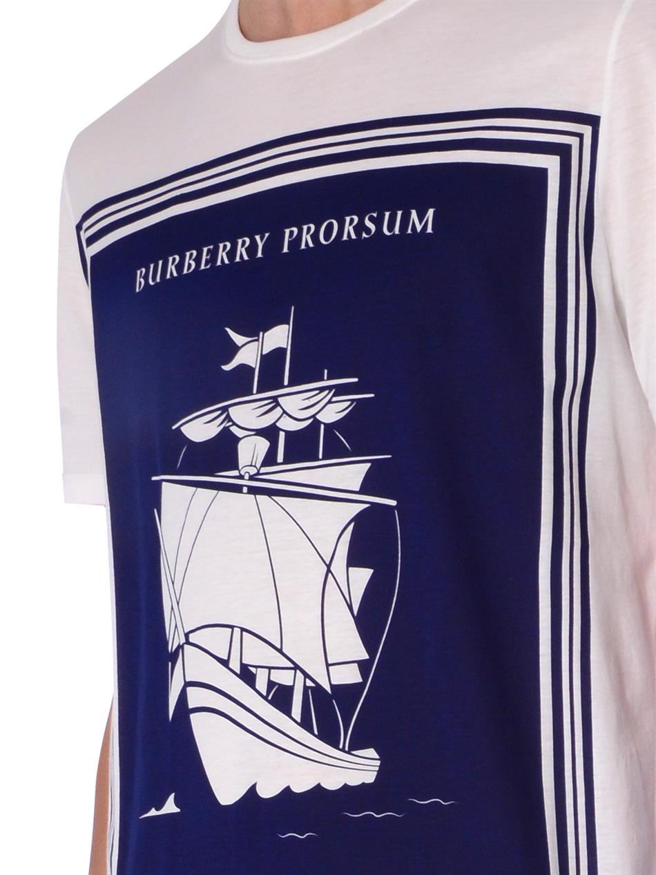 Book Cover White Jeans ~ Burberry prorsum book cover print cotton t shirt in blue