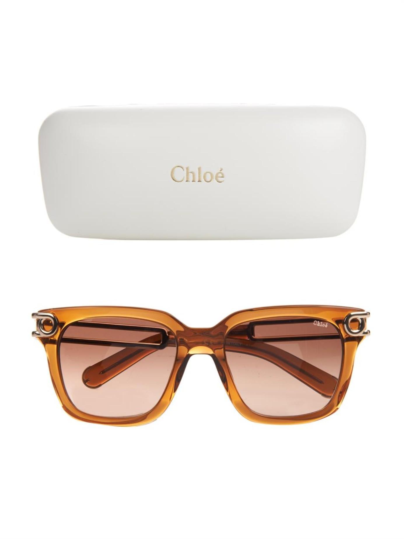 e865c75392d Lyst - Chloé Cate Square-Framed Sunglasses in Brown