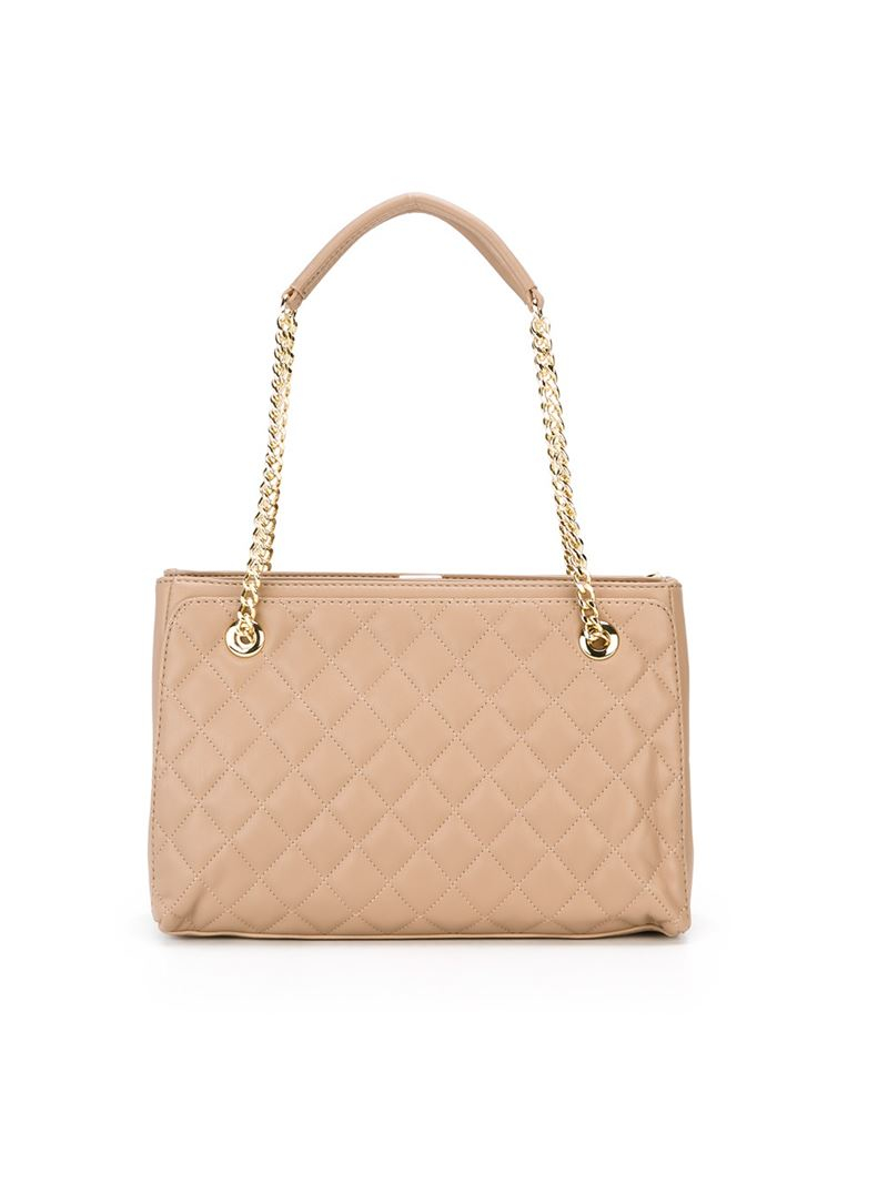 Lyst Love Moschino Quilted Shoulder Bag In Natural