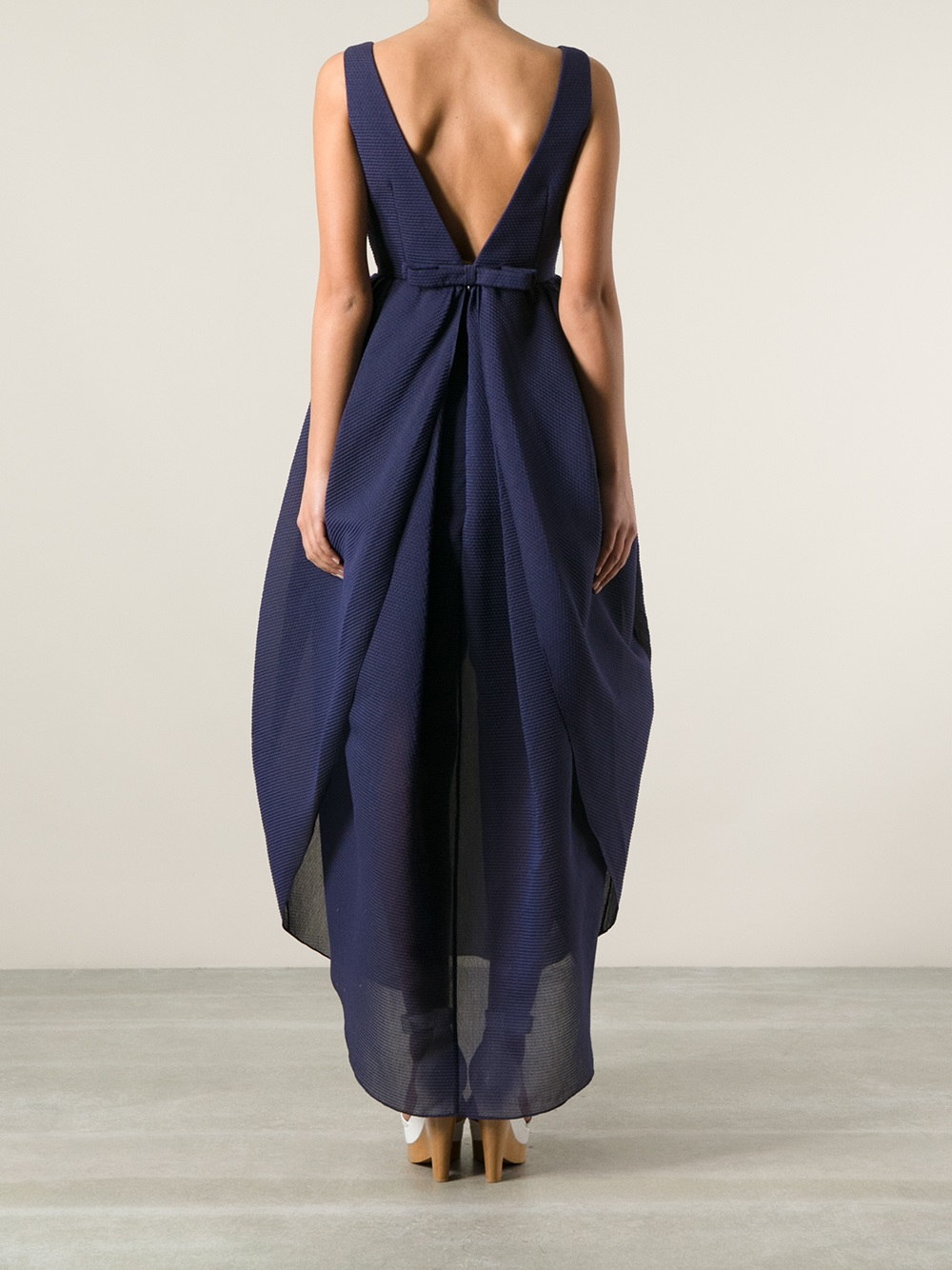 Lyst - Carven Back Bow Dress in Blue