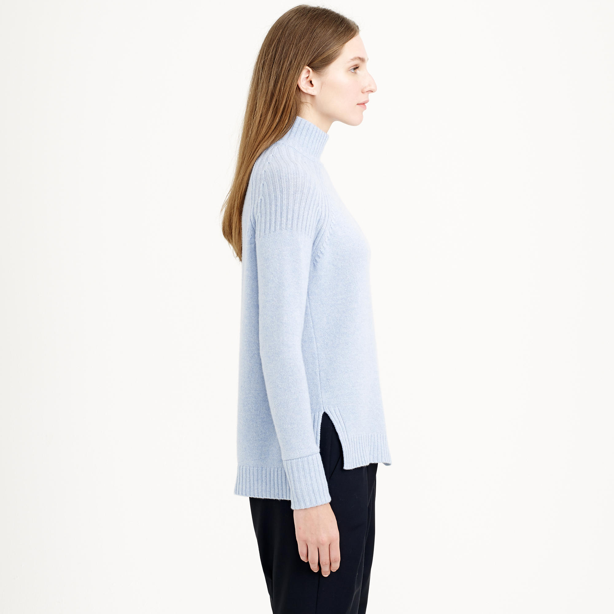 J.crew Collection Cashmere Back-Zip Turtleneck Sweater in Blue | Lyst