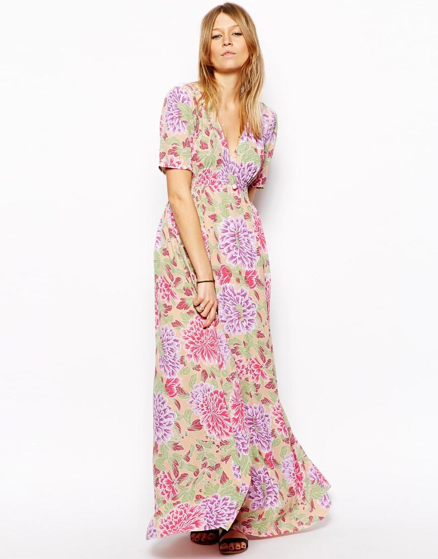 fc837b6b7f3 ASOS Maxi Tea Dress In Pastel Floral Print in Pink - Lyst