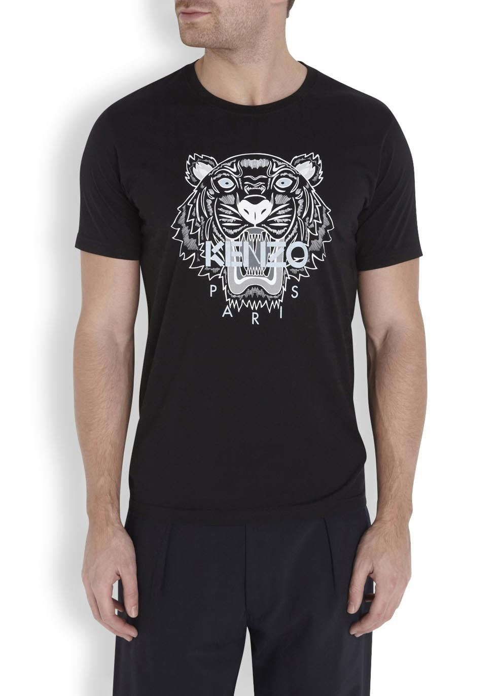 kenzo black embroidered tiger round neck t shirt in black for men lyst. Black Bedroom Furniture Sets. Home Design Ideas