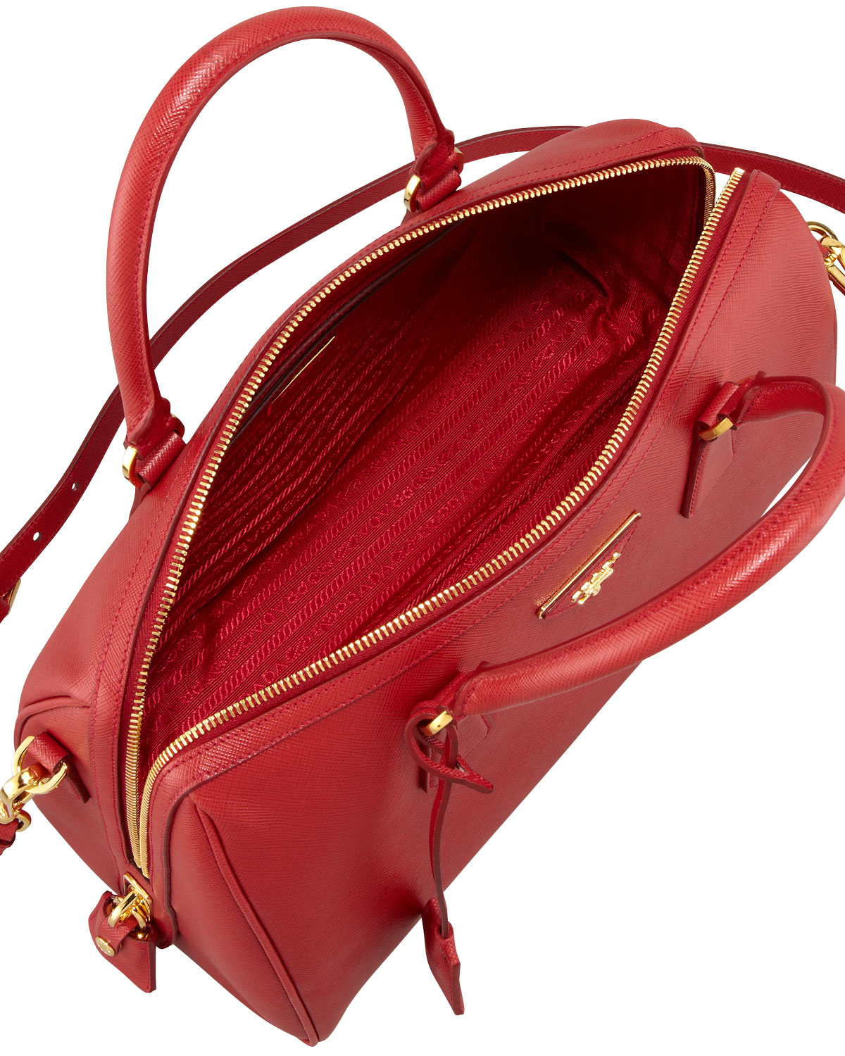red leather prada bag