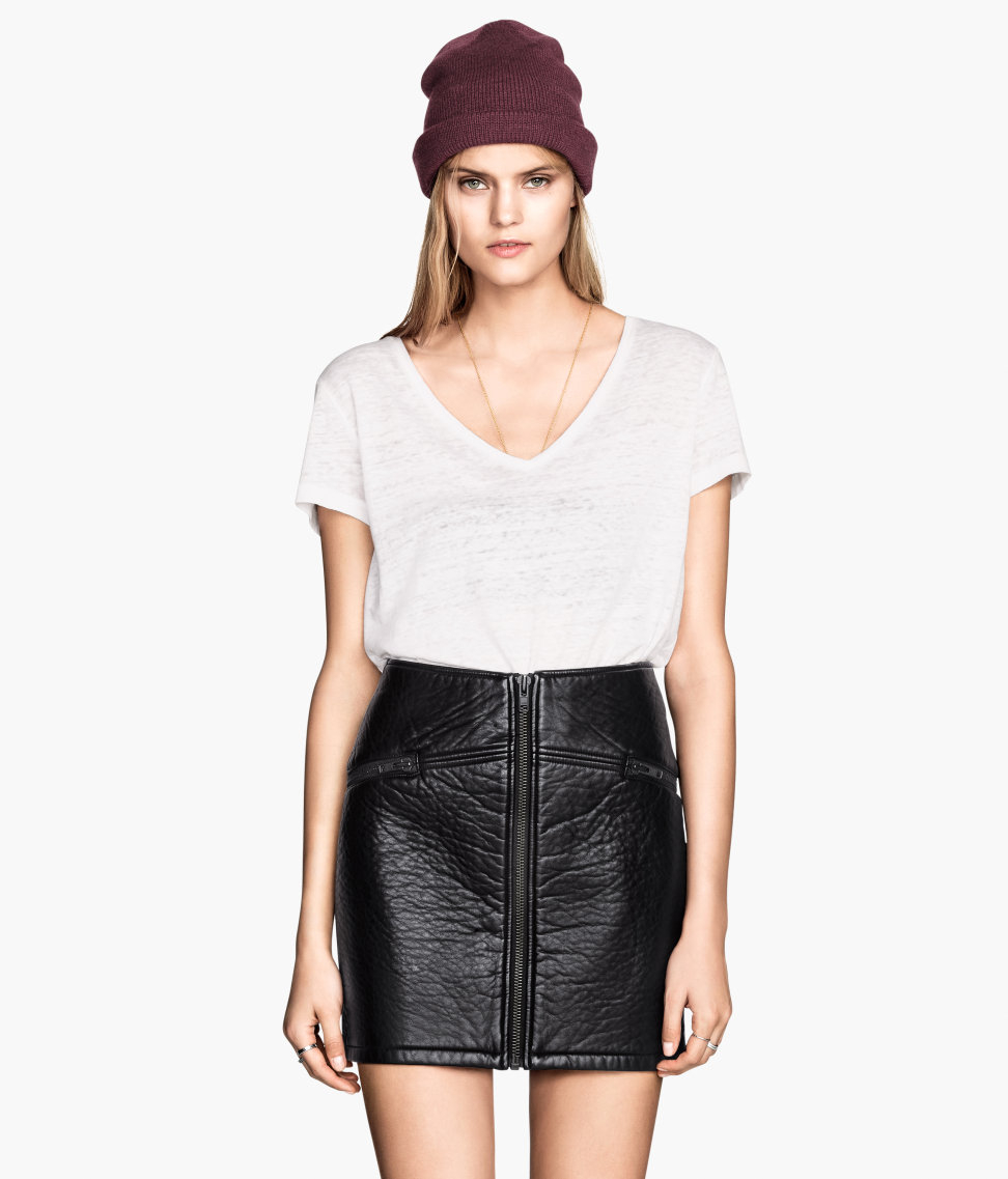 H&m Imitation Leather Skirt in Black | Lyst