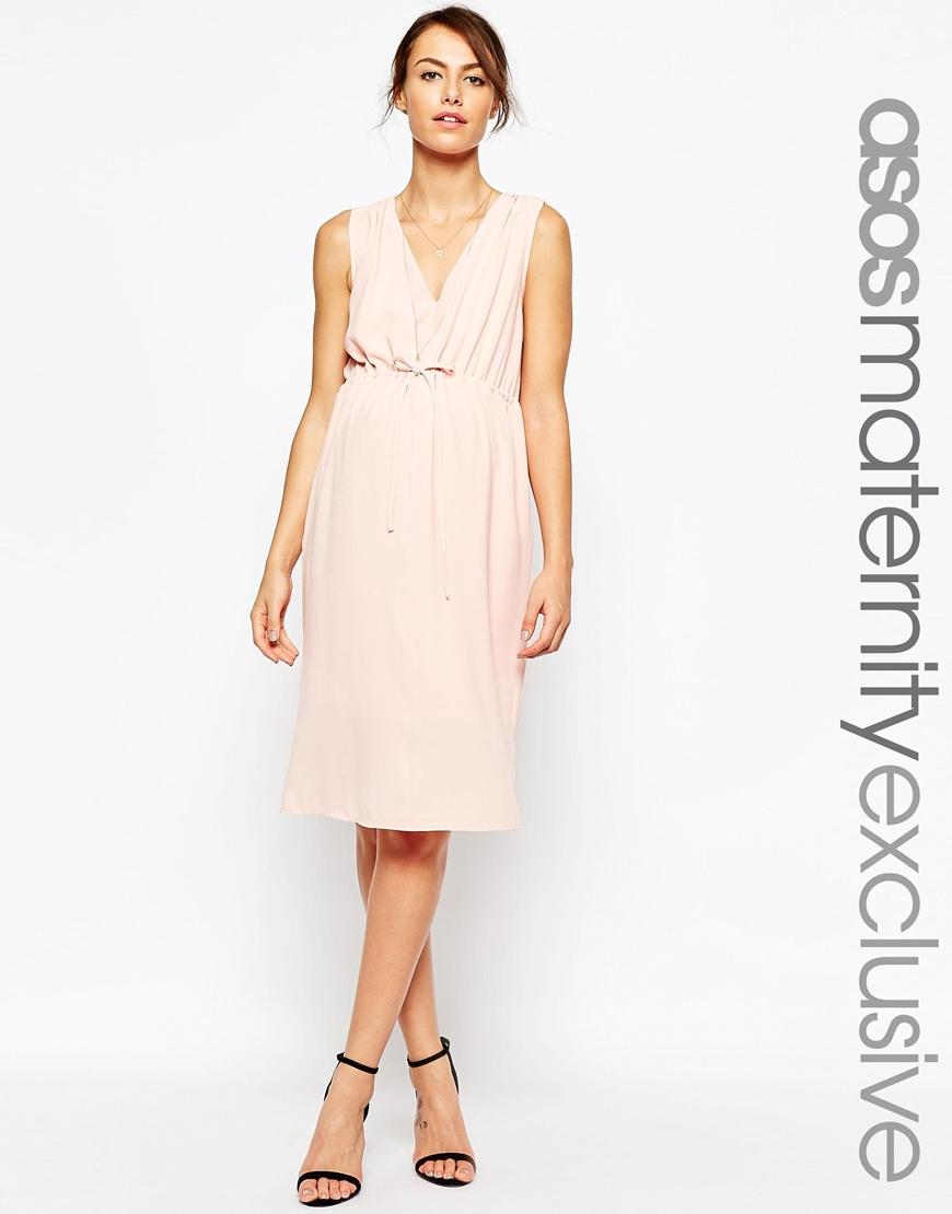 933ca8e5a72 ASOS Maternity Nursing Midi Dress With Drawstring Waist in Pink - Lyst