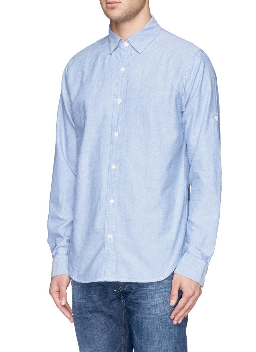 Lyst denham pin oxford shirt in blue for men for Mens blue oxford shirt