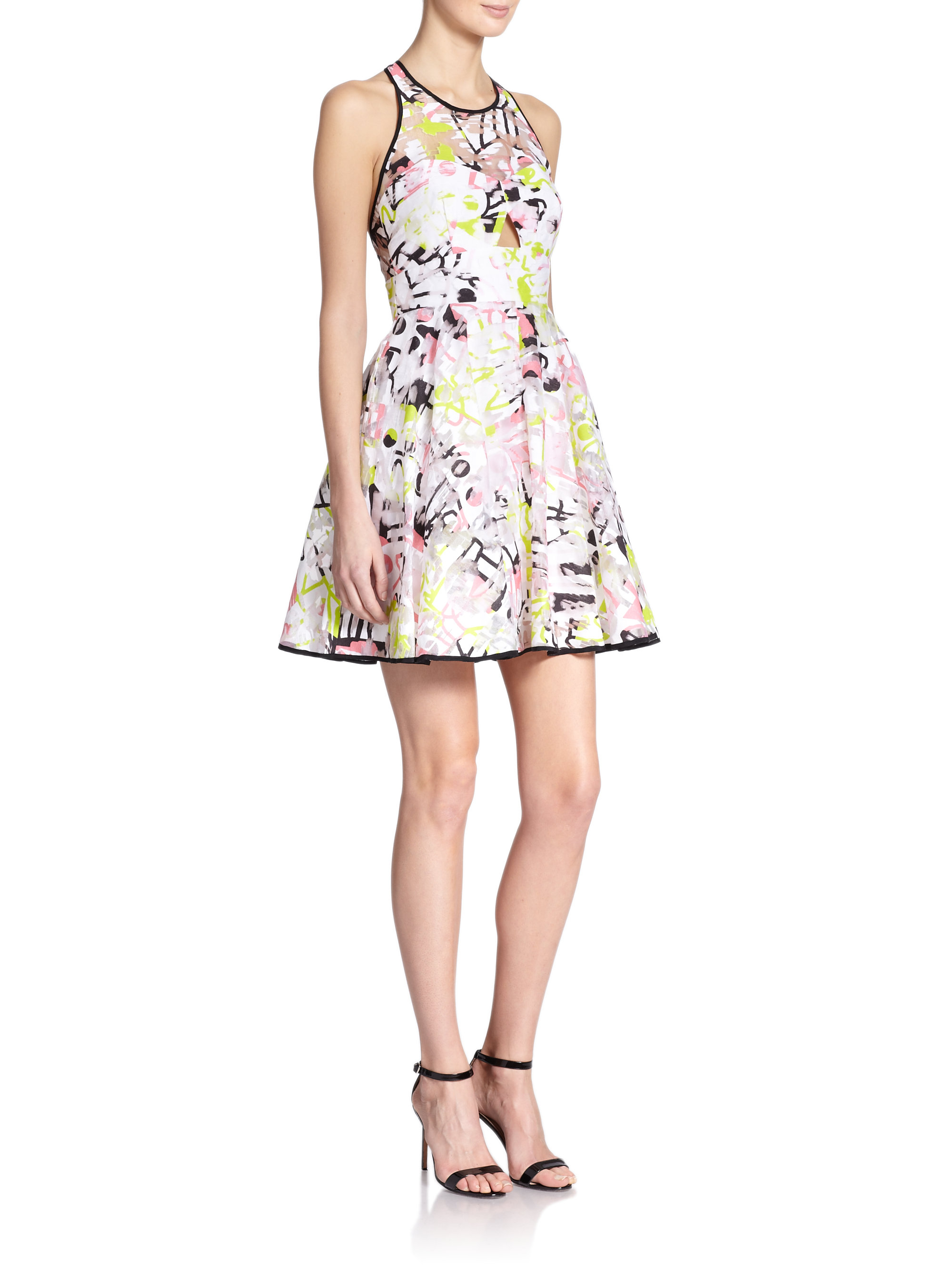 Lyst Milly Surrealist Printed Fil Coupe Cutout Dress