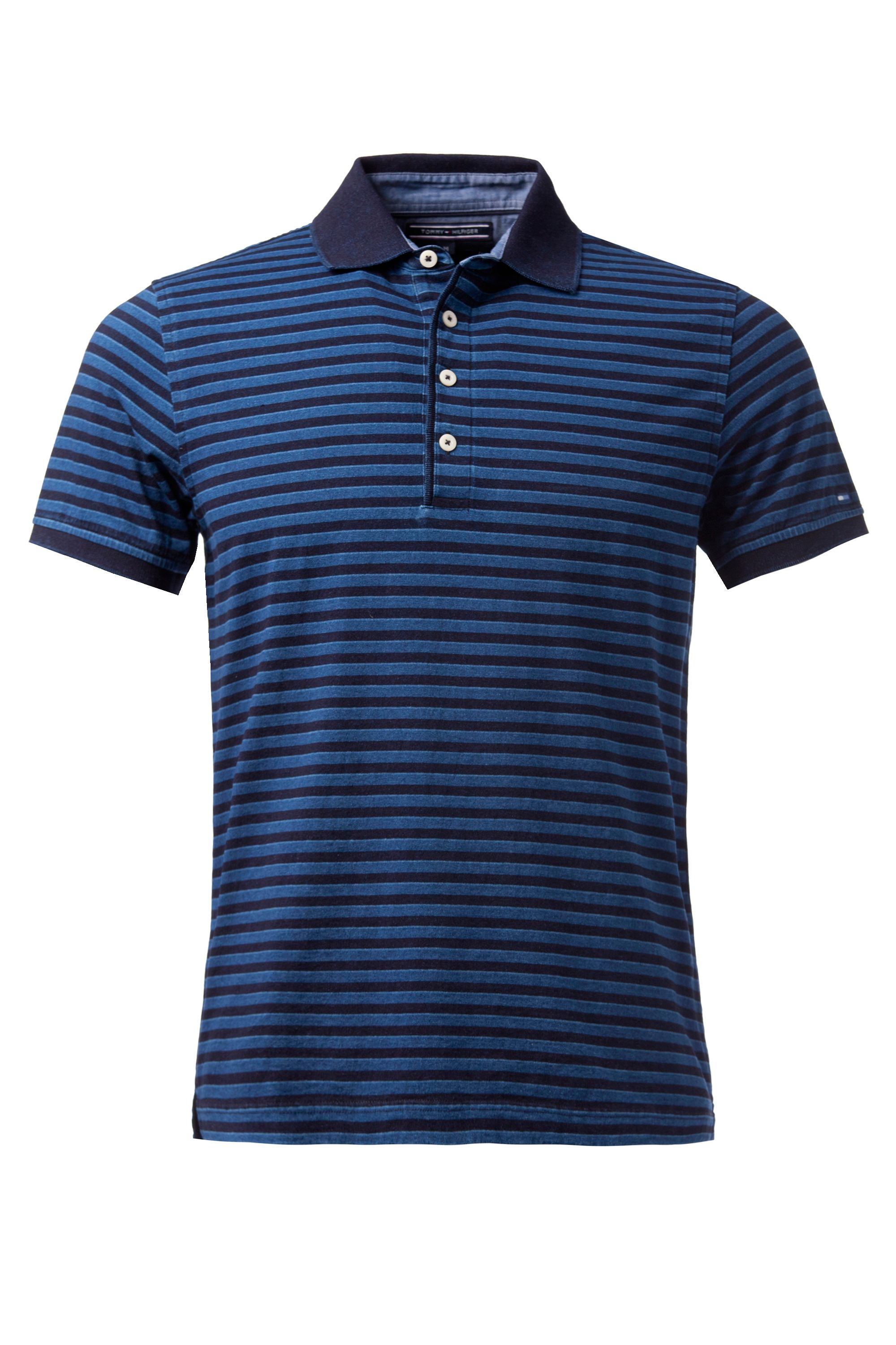 tommy hilfiger austin stripe slim fit polo shirt in blue for men dark. Black Bedroom Furniture Sets. Home Design Ideas