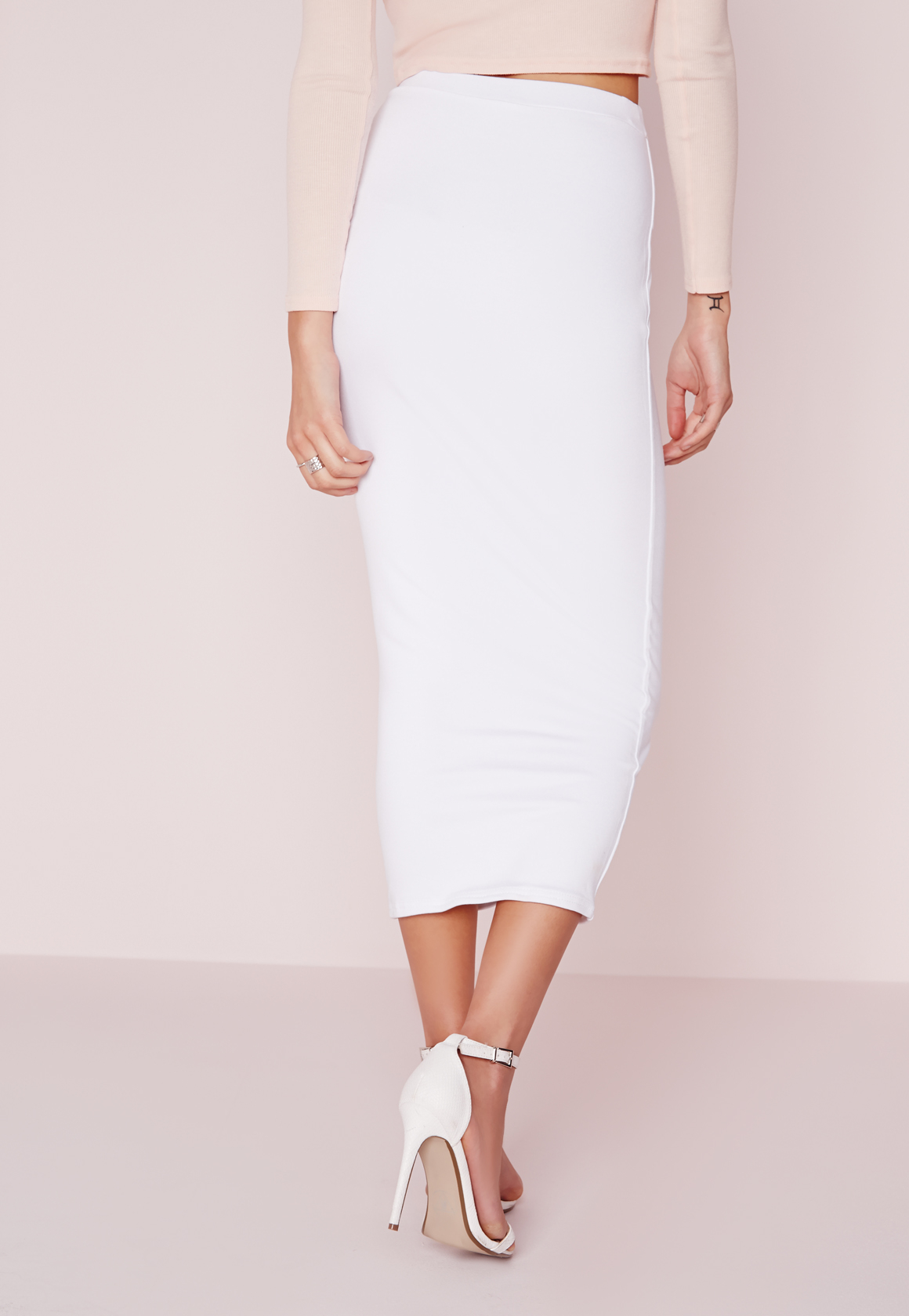 missguided longline jersey midi skirt white in white lyst