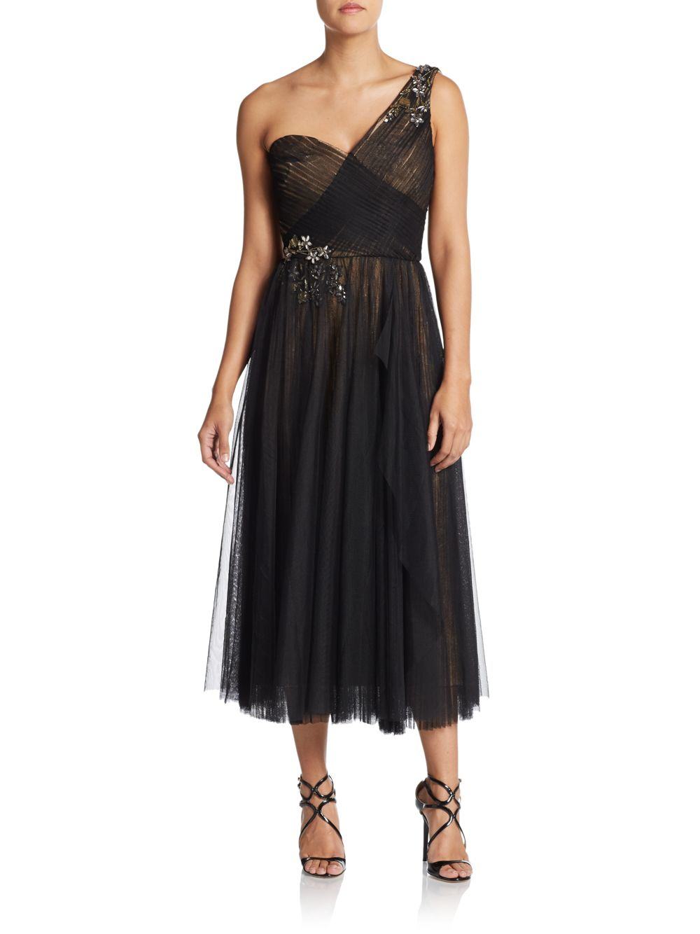 Notte By Marchesa Embroidered One Shoulder Tulle Dress In