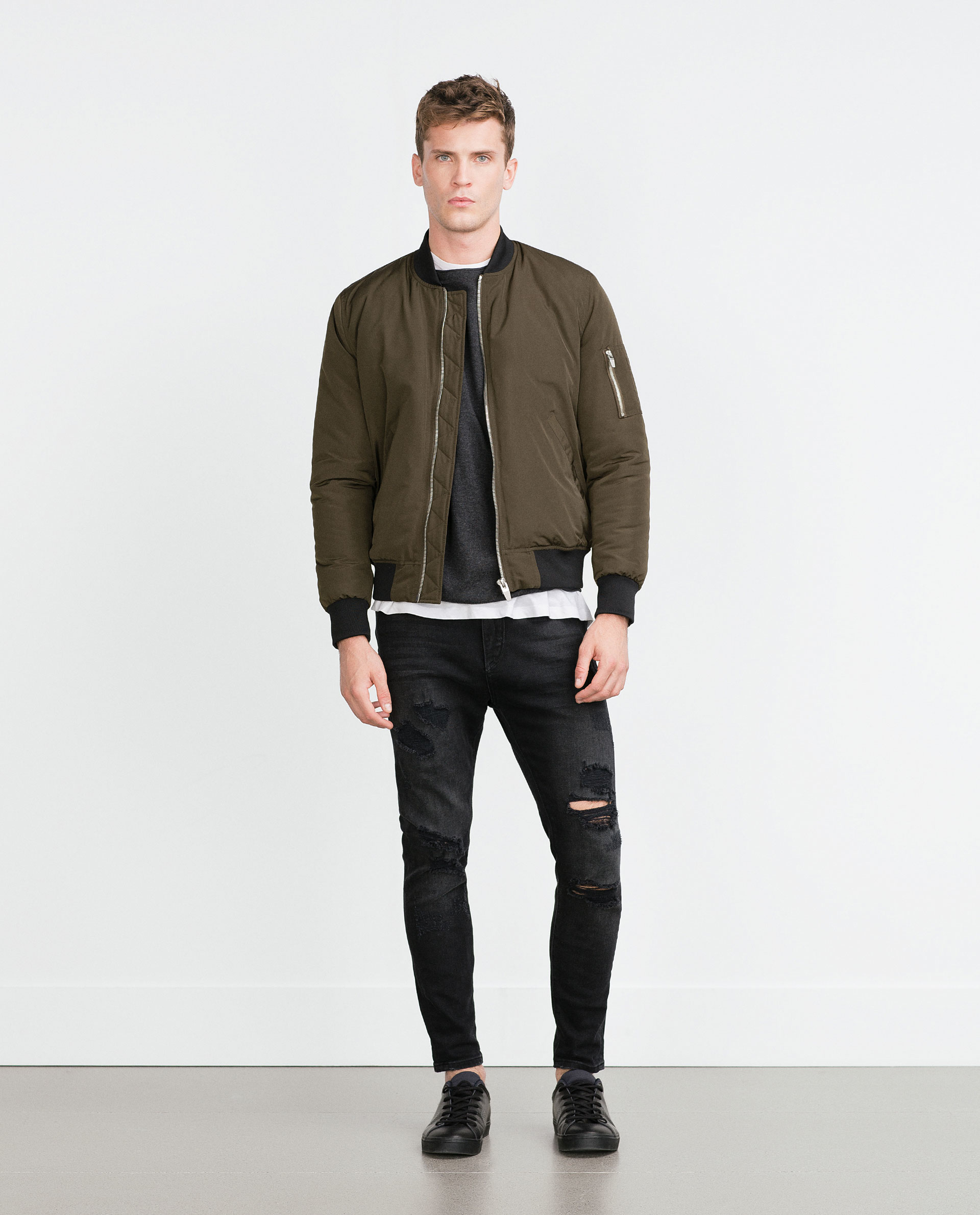 Zara Quilted Bomber Jacket In Green For Men Lyst