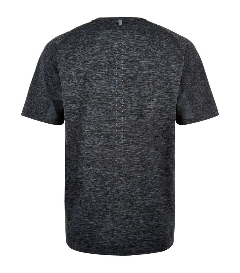 Lyst nike dri fit knit running shirt in black for men for Running dri fit shirts