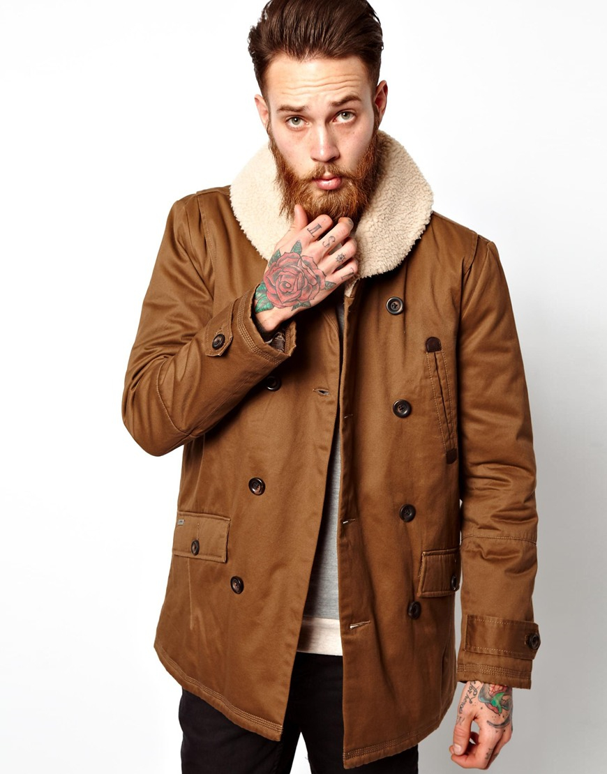 Parka london Redford Pea Coat in Brown for Men | Lyst