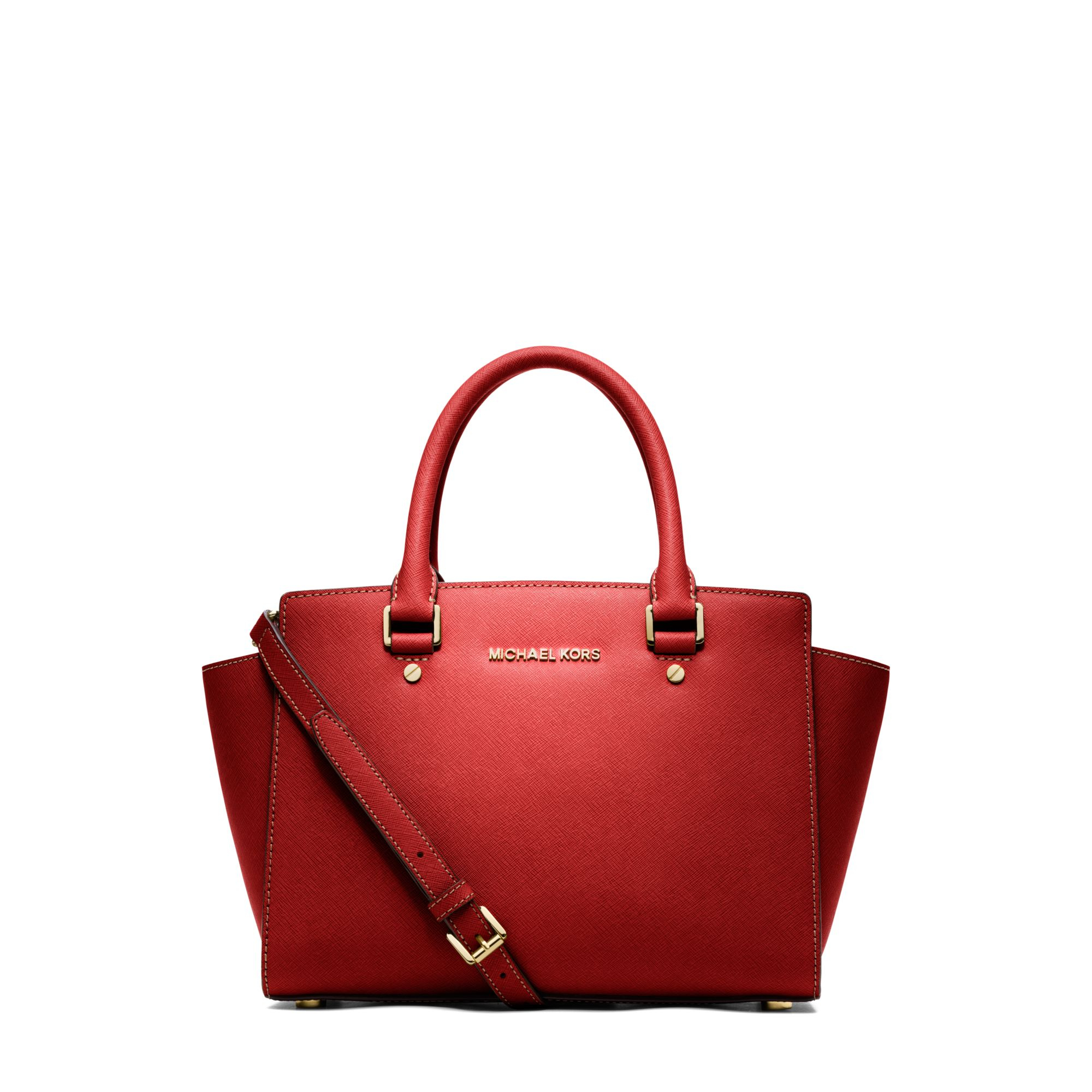michael kors selma saffiano leather medium satchel in red mandarin lyst. Black Bedroom Furniture Sets. Home Design Ideas