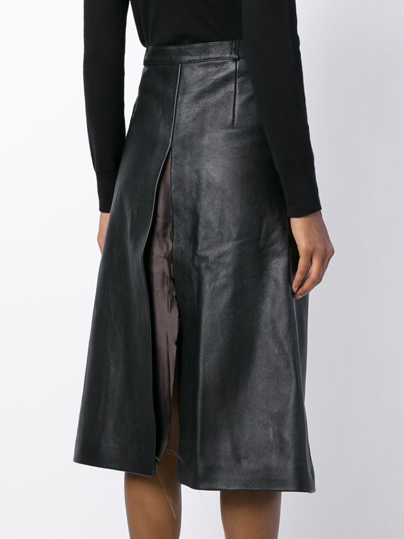 Vetements Leather A-Line Skirt in Black | Lyst
