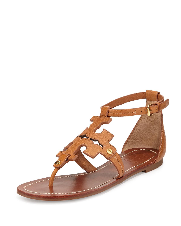 9955458cd88 Lyst - Tory Burch Phoebe Logo Flat Thong Sandal Tan in Brown