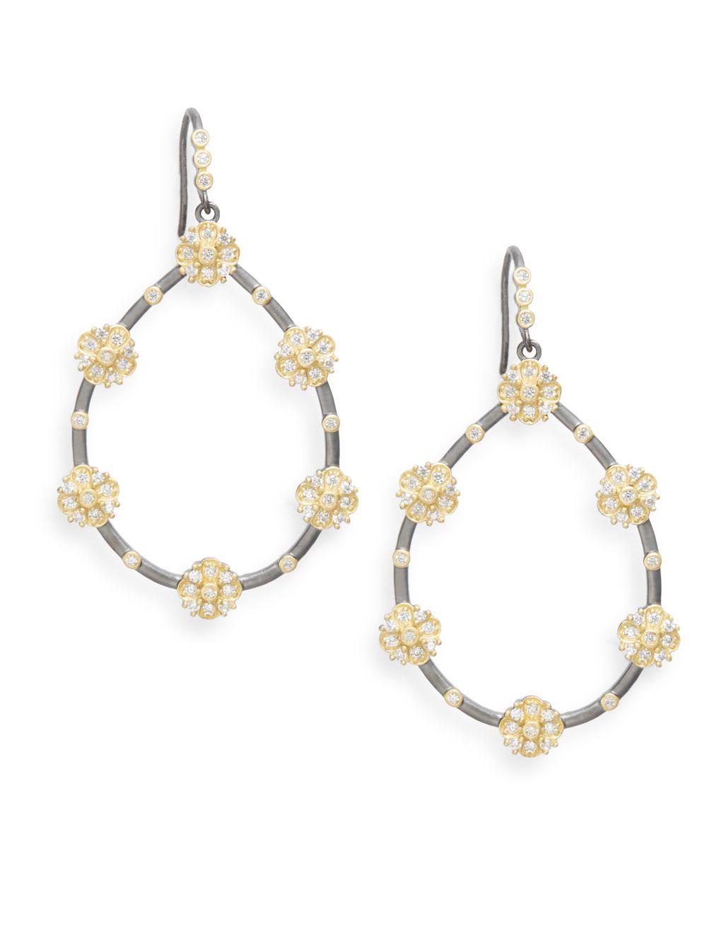 Freida Rothman Thin Bezel Station Teardrop Earrings n72Yu3