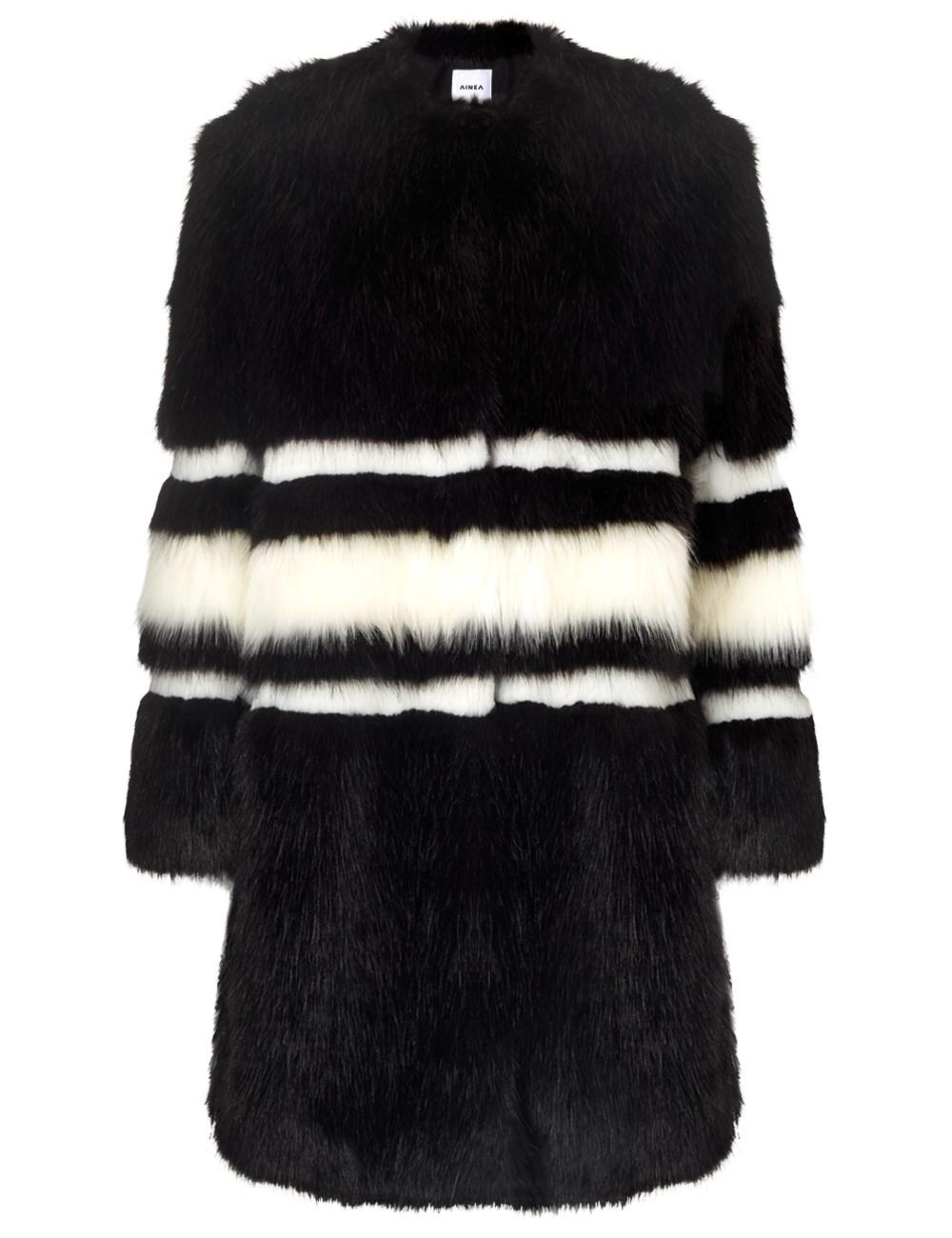 Ainea Black And White Faux Fur Coat Lyst