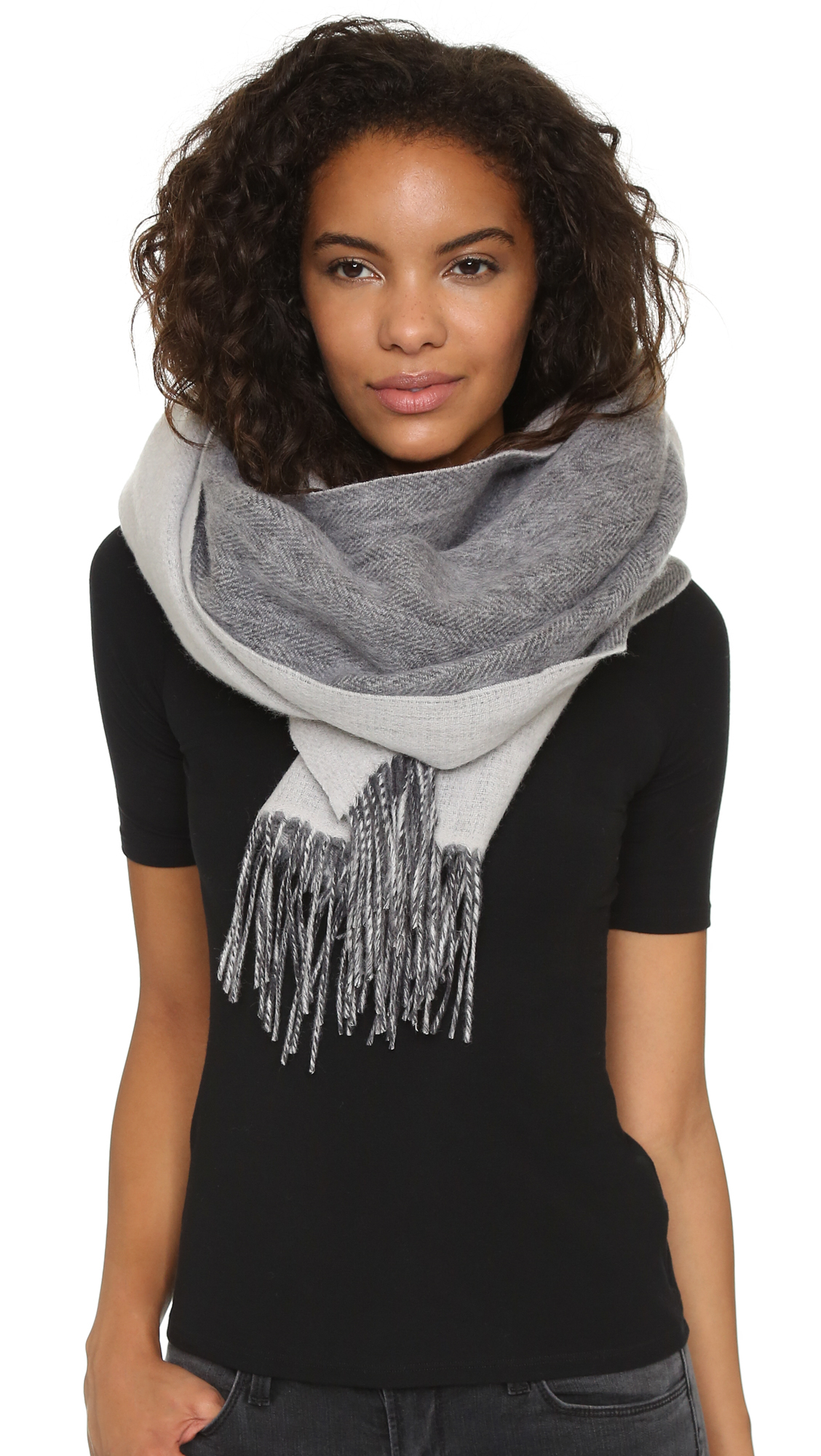 club monaco thisbee scarf in gray lyst