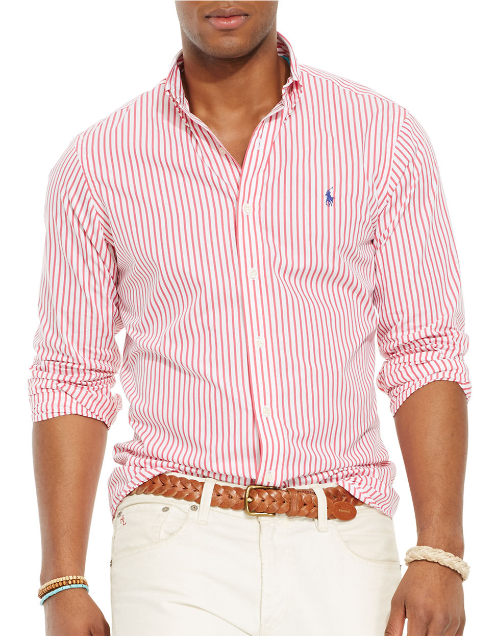 5f46198157 Polo Ralph Lauren Bengal-Striped Poplin Shirt in Red for Men - Lyst