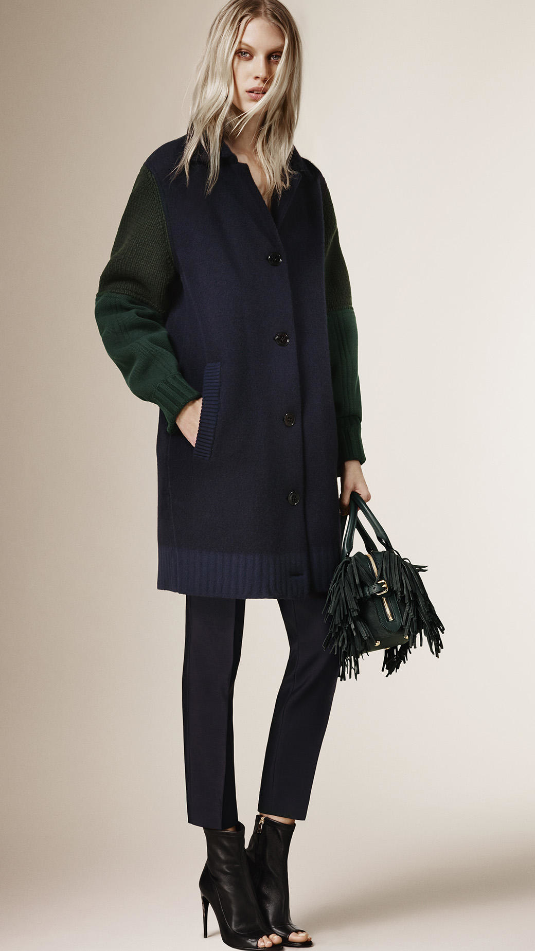 Burberry Knitted Cardigan Coat With Contrast Sleeves in Blue | Lyst