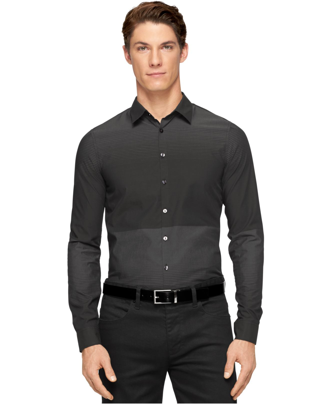 Calvin klein engineered horizontal stripe ultra slim fit for Calvin klein athletic fit dress shirt