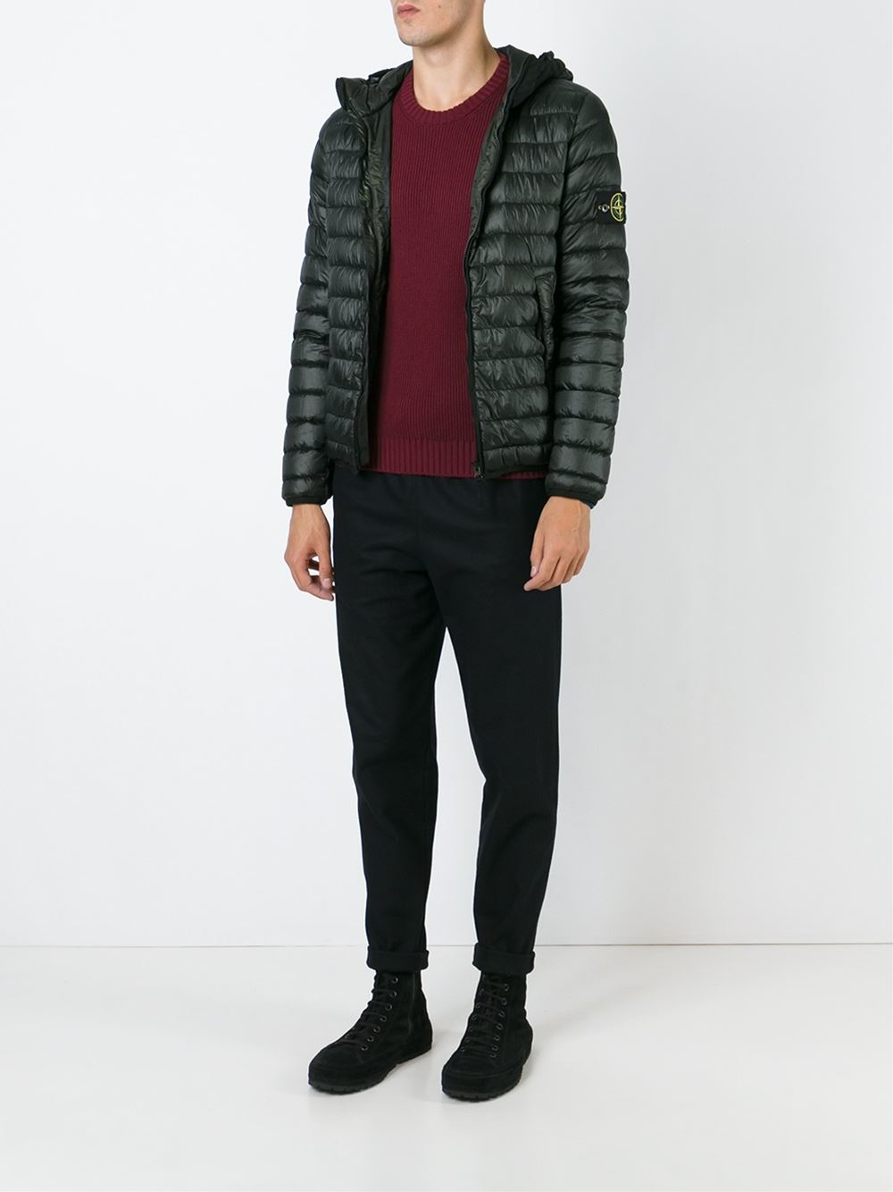 Stone island Padded Hooded Jacket in Green for Men - Lyst