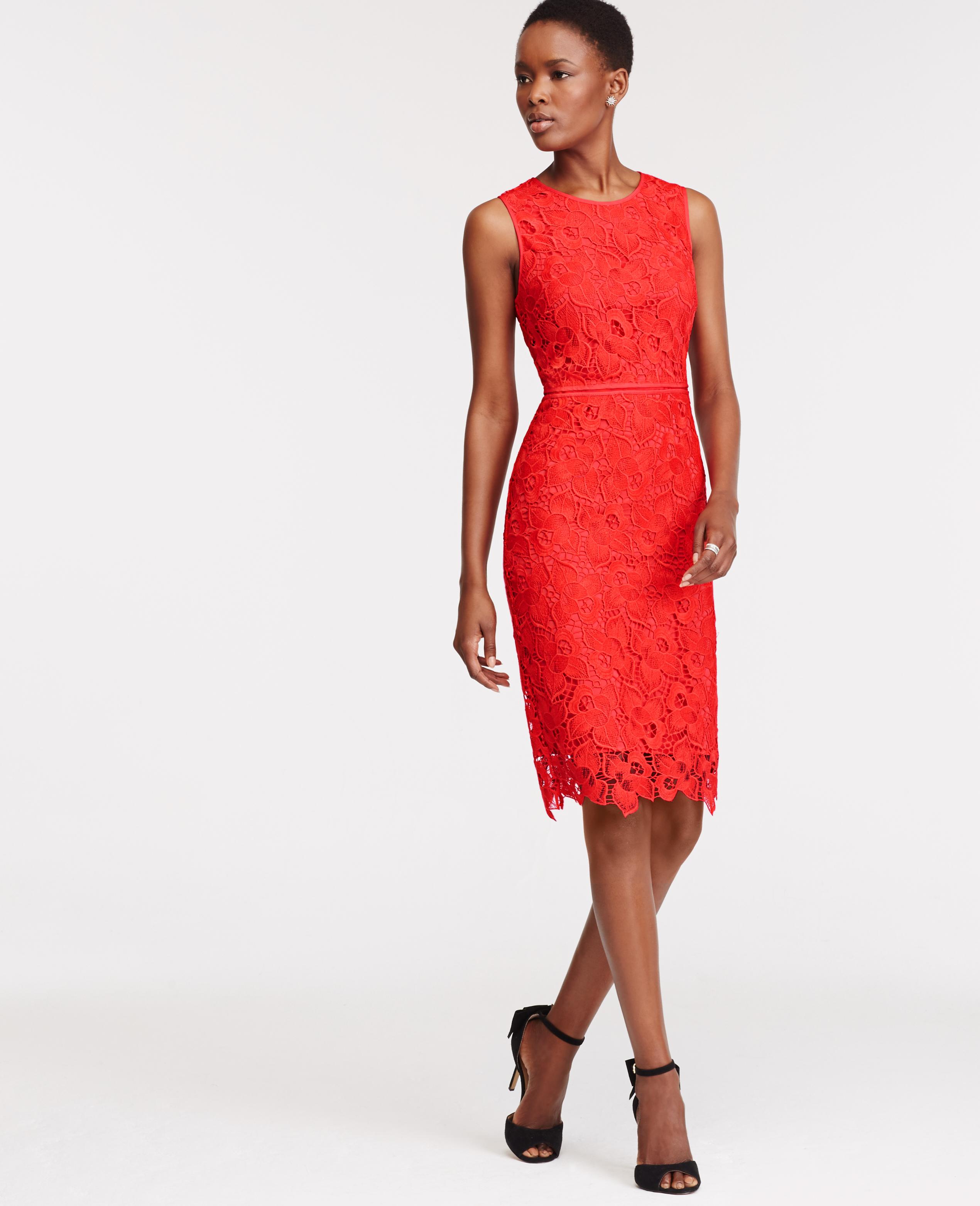 Lyst - Ann Taylor Tall Floral Lace Sheath Dress in Orange