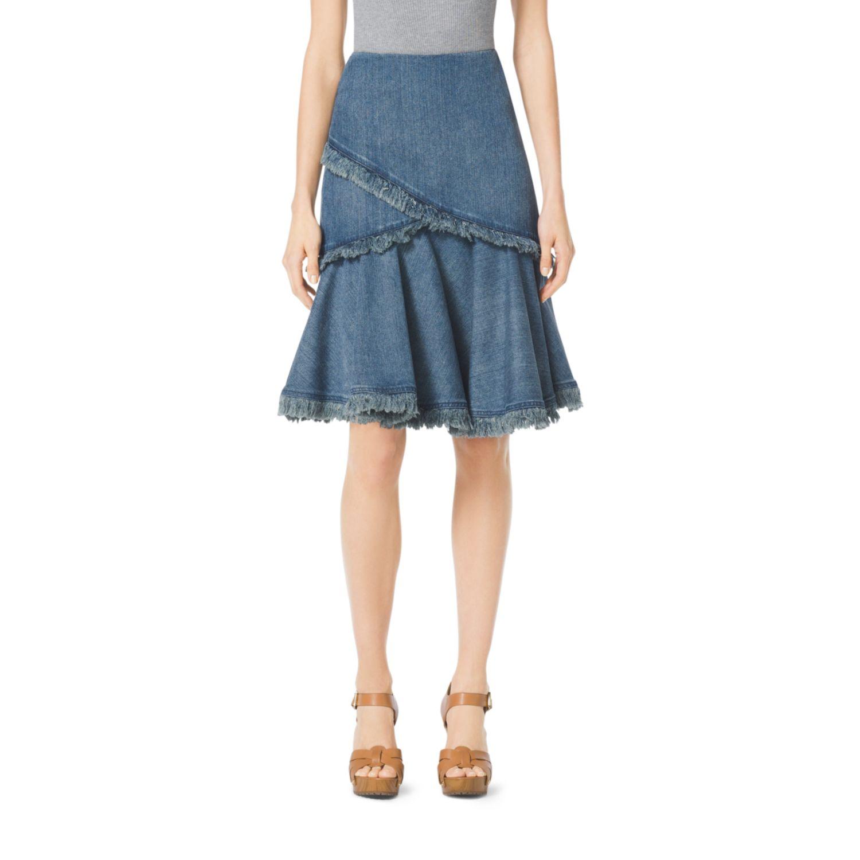 michael kors frayed denim flared skirt in blue medium