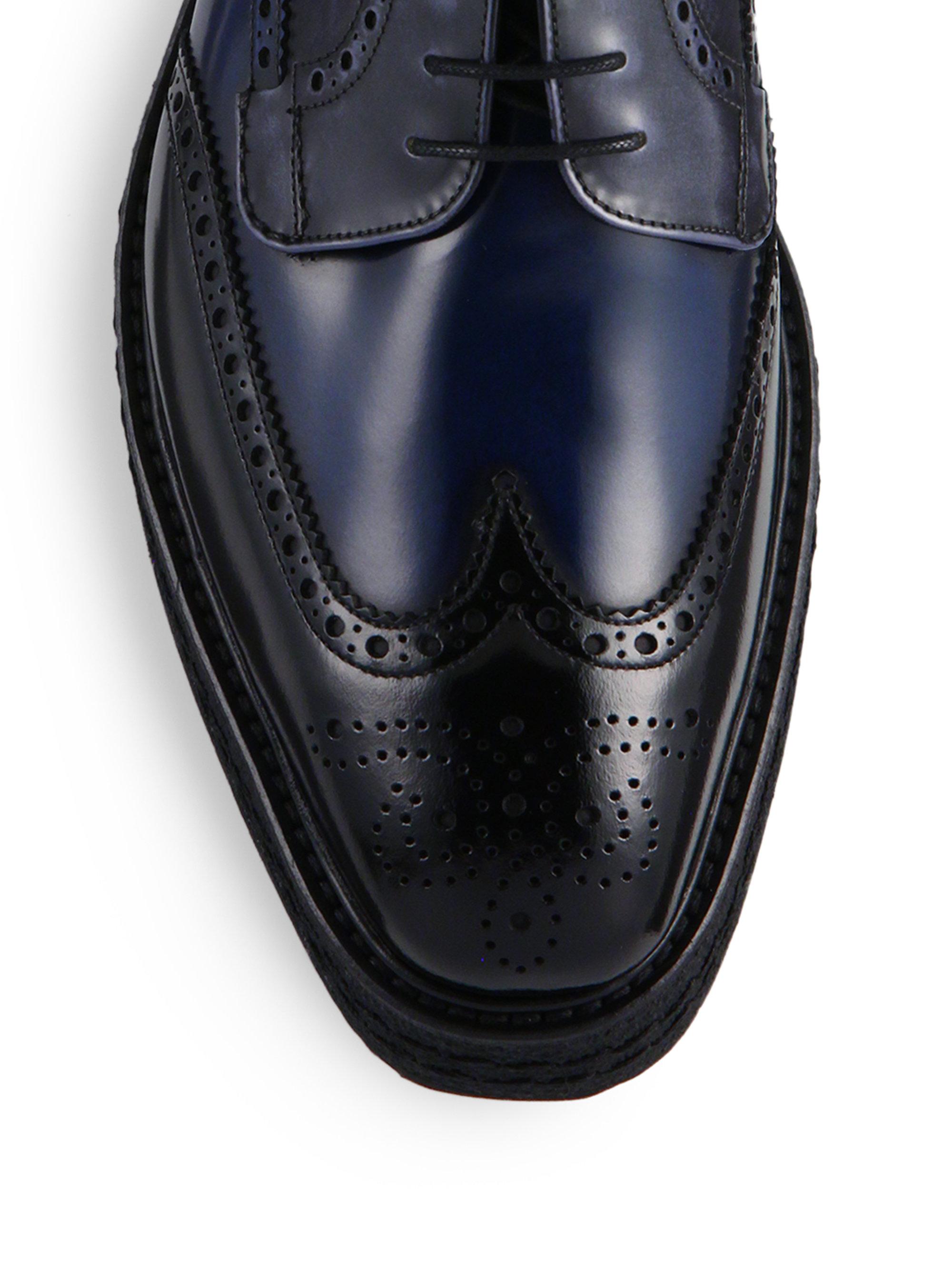 2a876973bb86 ... medallion toe dress shoe 97fc8 a671d  wholesale lyst prada creeper lug  sole leather derby shoes in black for men 149c5 a8da6