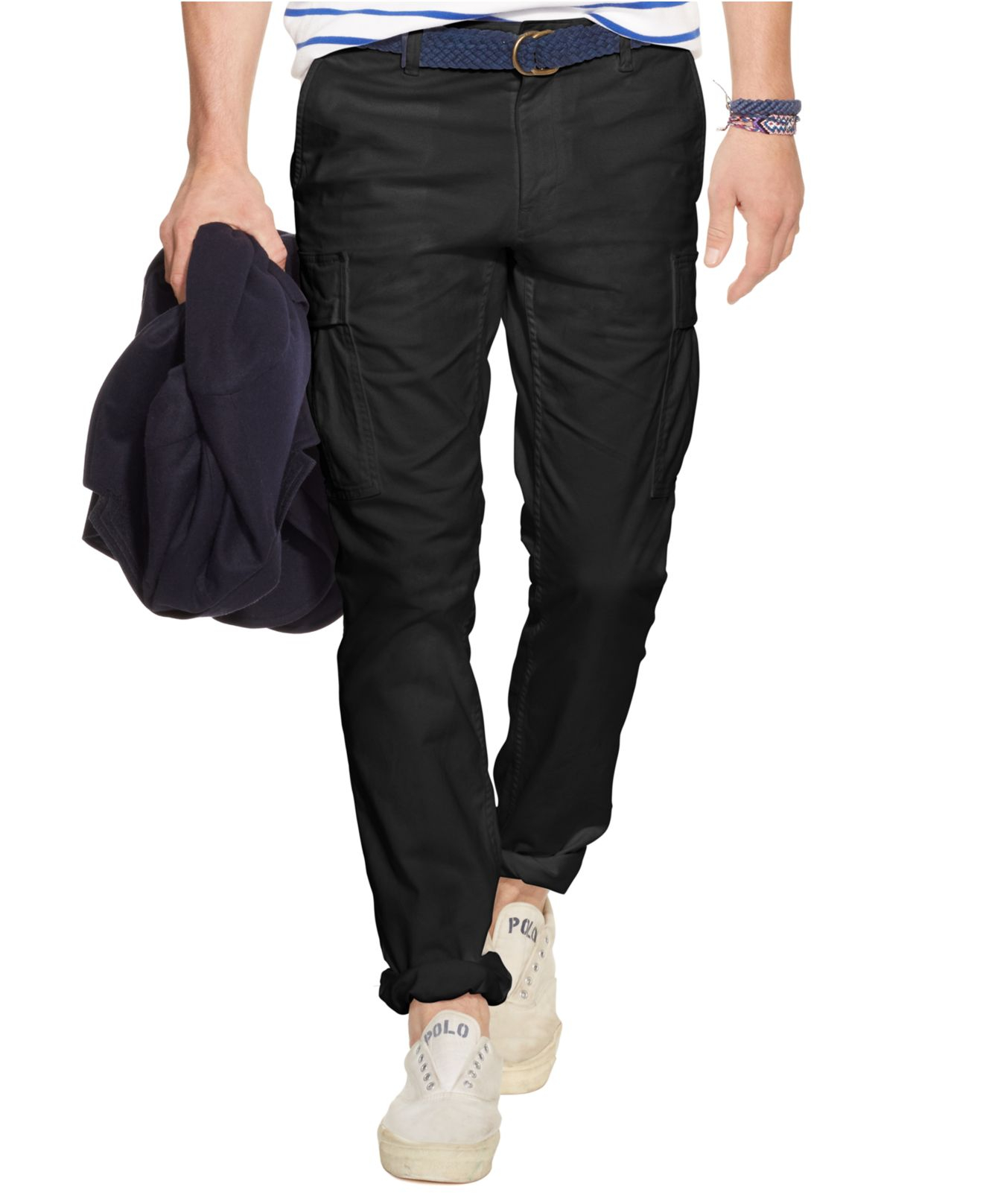 Polo ralph lauren Slim-Fit Military Cargo Pants in Black for Men ...