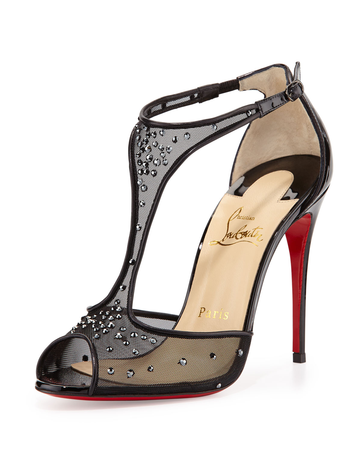 d0523f73ff58 Lyst - Christian Louboutin Patinana Strass Red Sole Sandal in Black