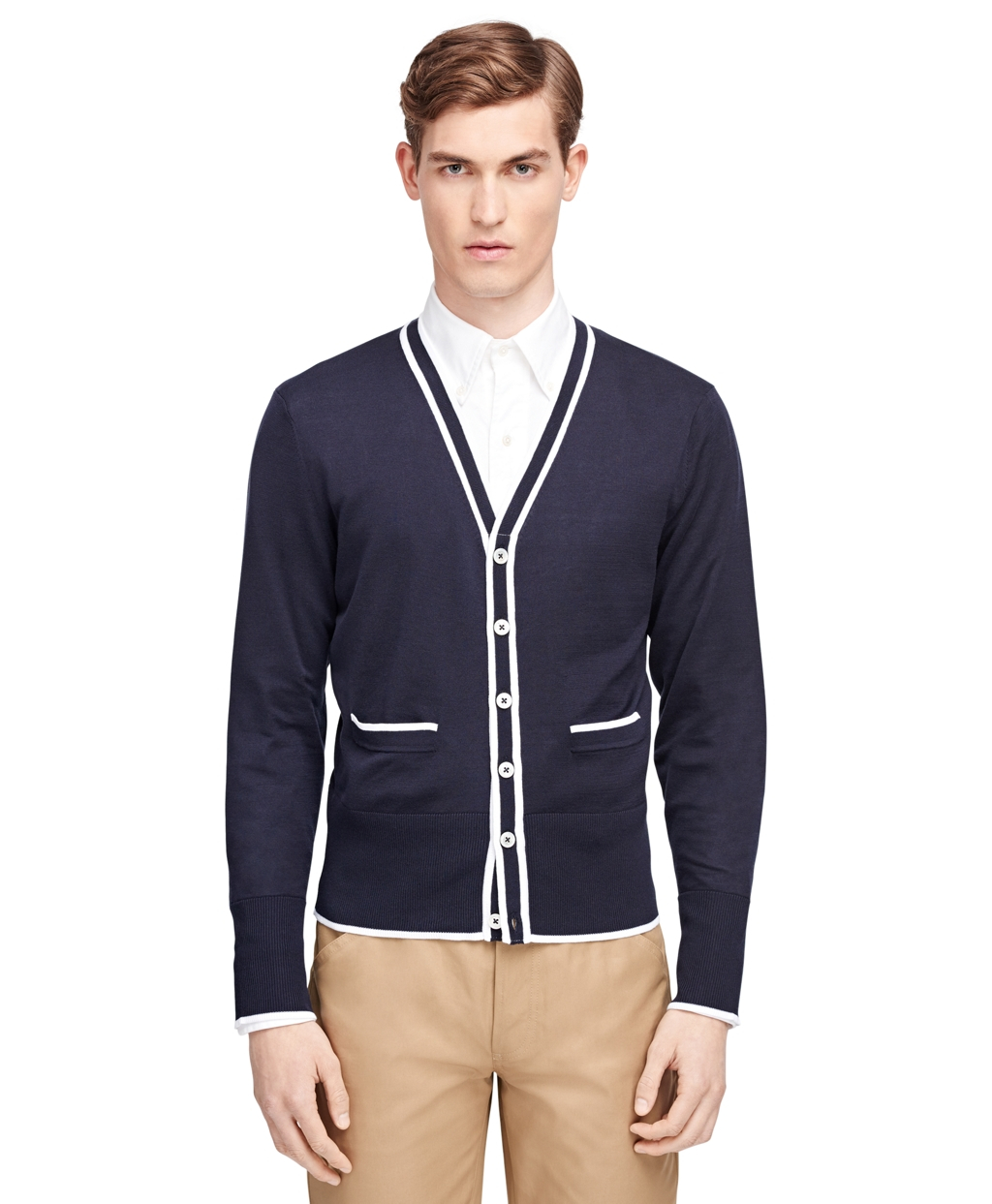 Brooks brothers Tipped Cardigan in Blue for Men | Lyst