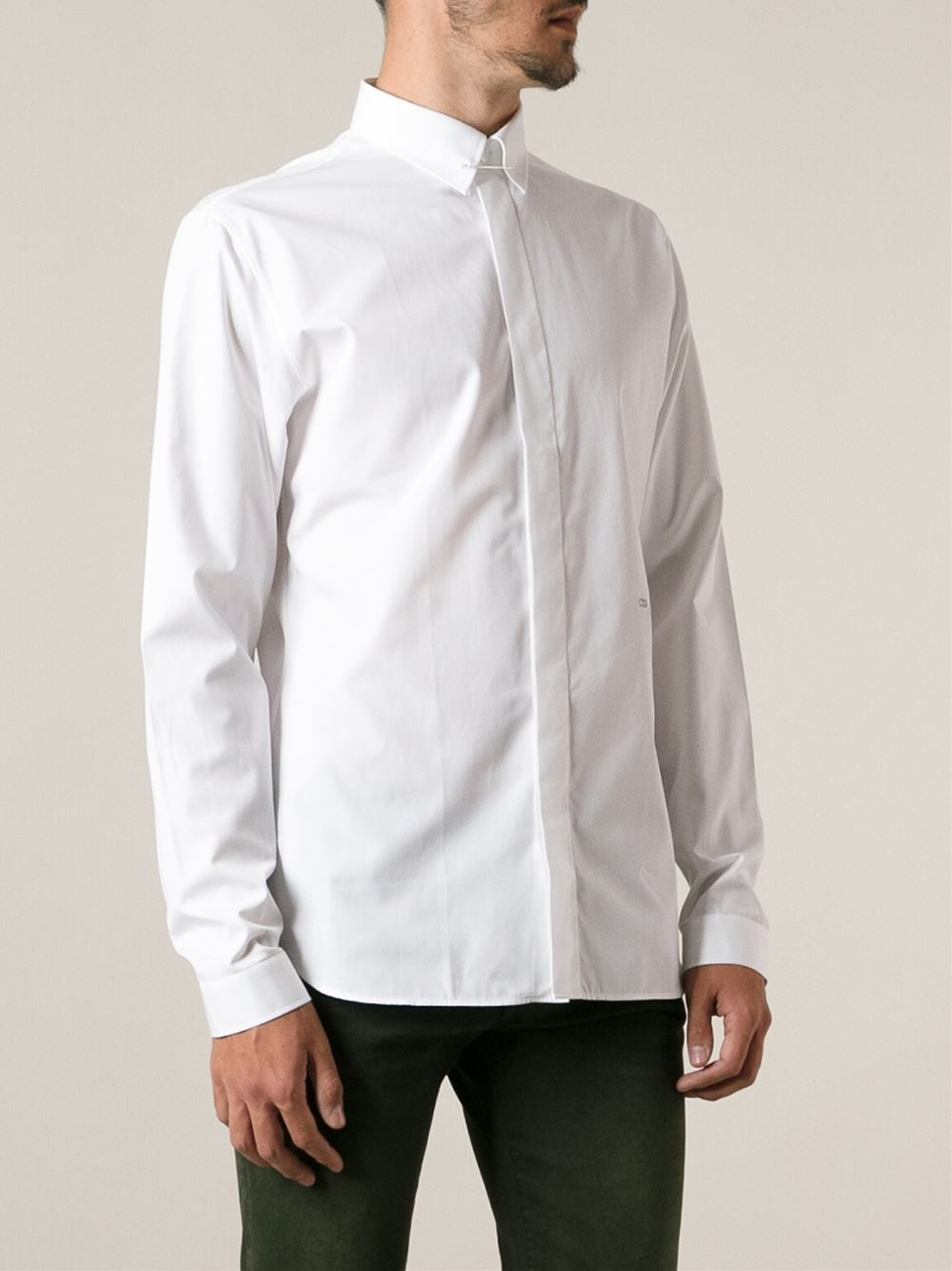 Dior Homme Pin Collar Shirt In White For Men Lyst