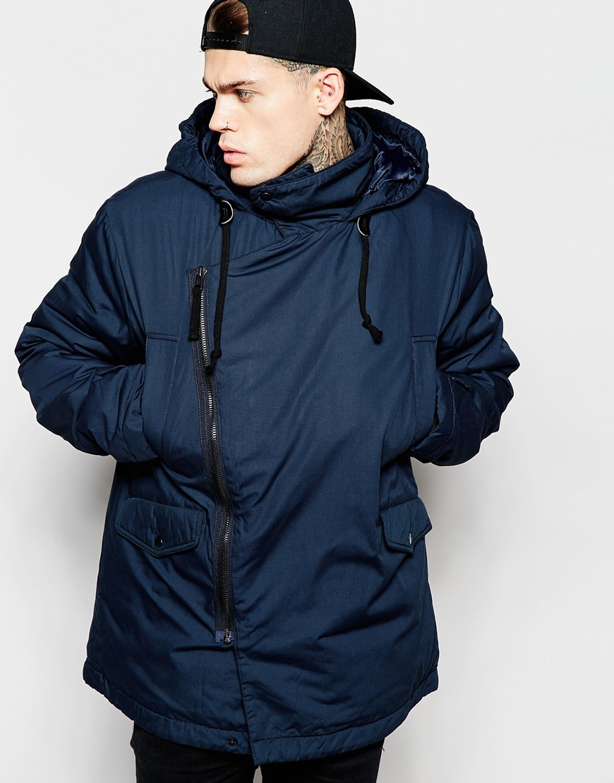 Asos Asymmetric Parka In Navy in Blue for Men | Lyst