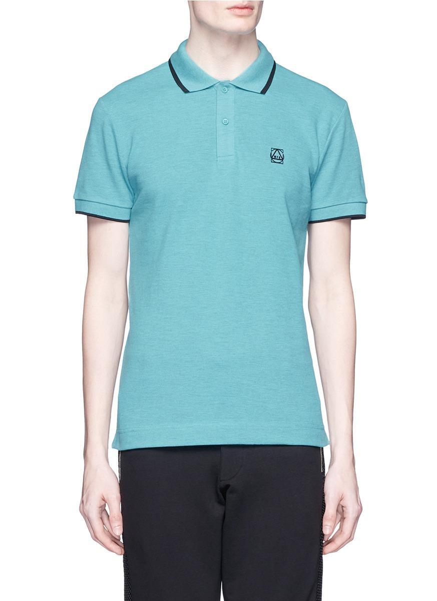 Mcq Geometric Logo Cotton Polo Shirt In Blue For Men Lyst